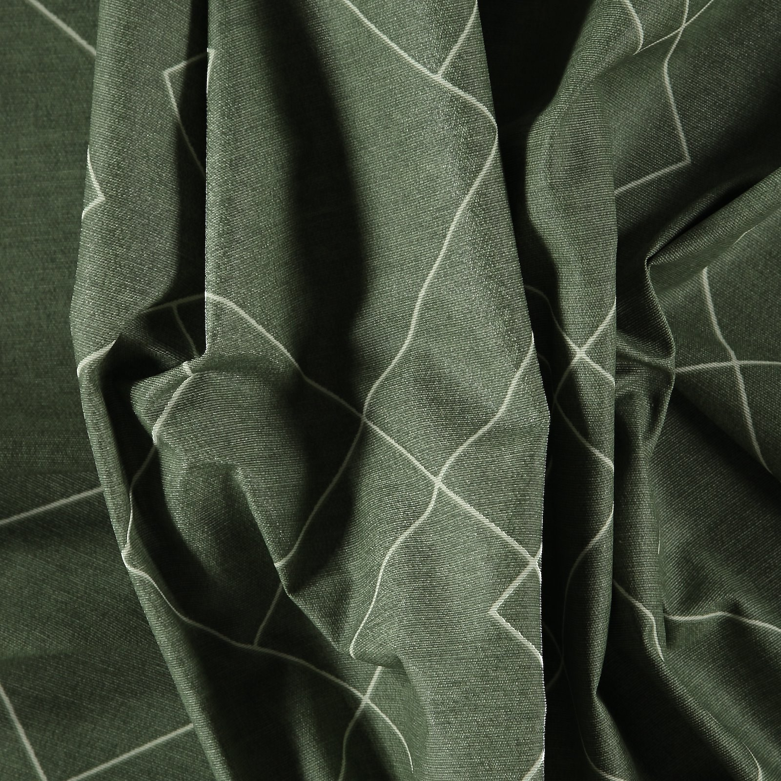 Woven oilcloth sage w graphic pattern