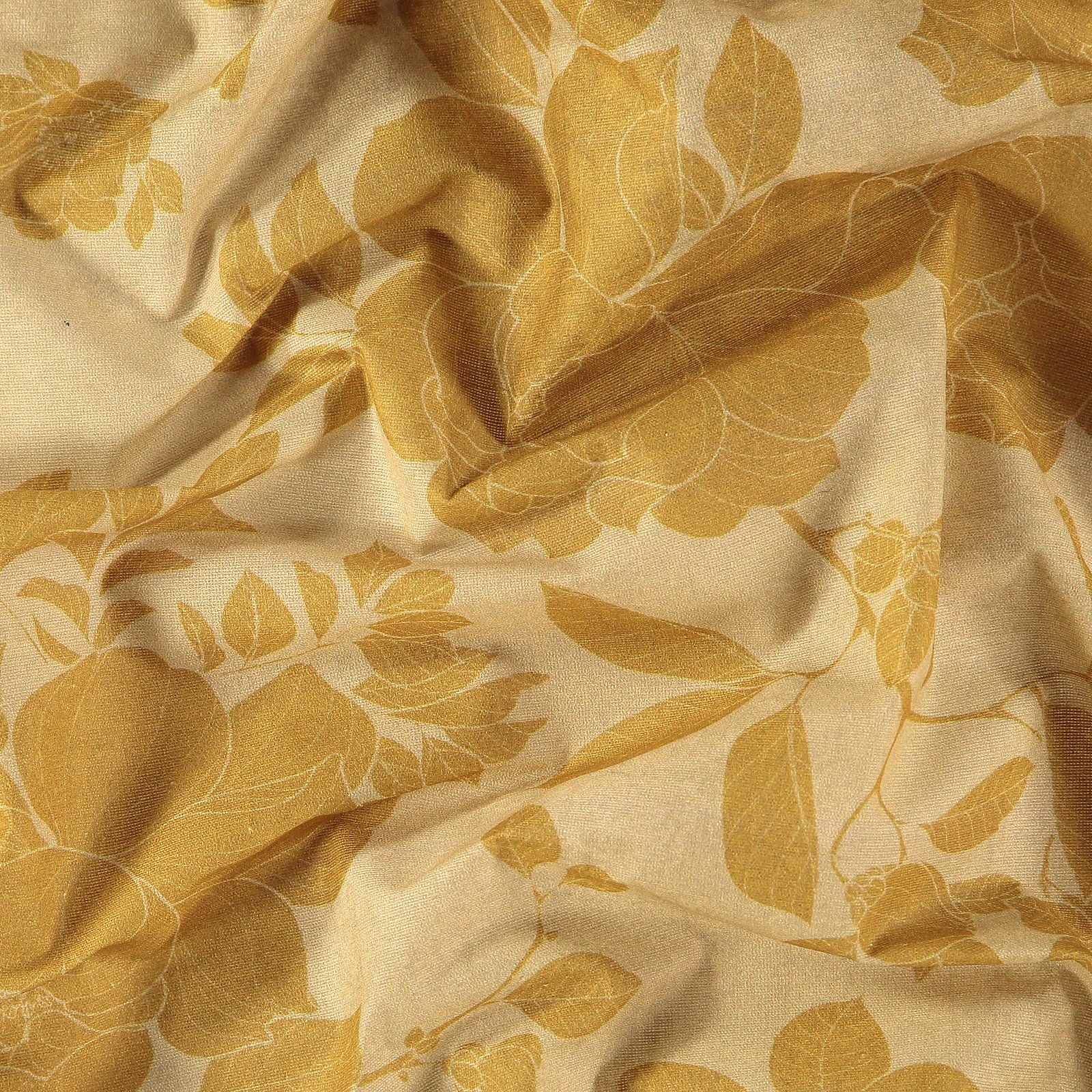 Woven oilcloth light warm curry w flower