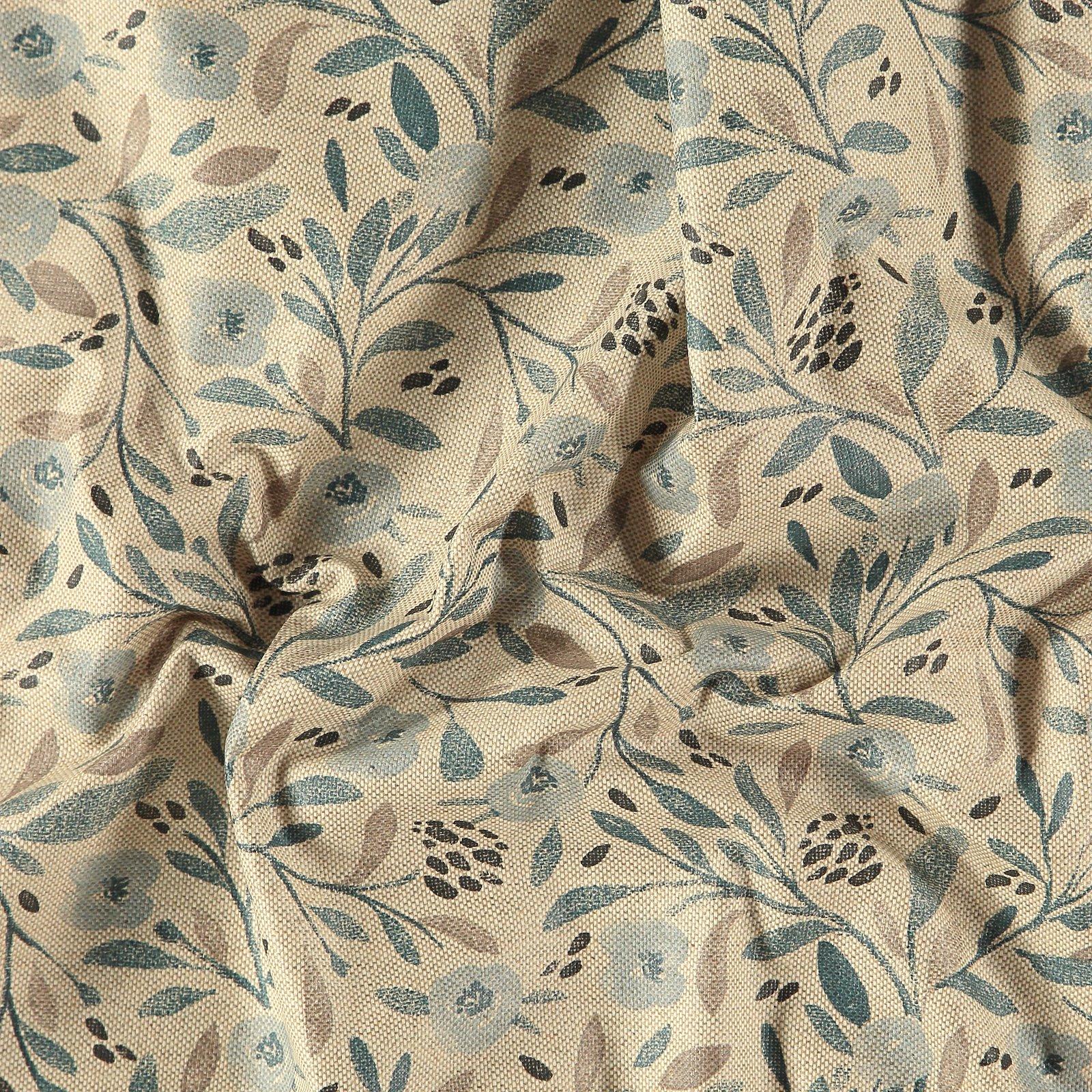 Woven oilcloth linenlook w blue flowers
