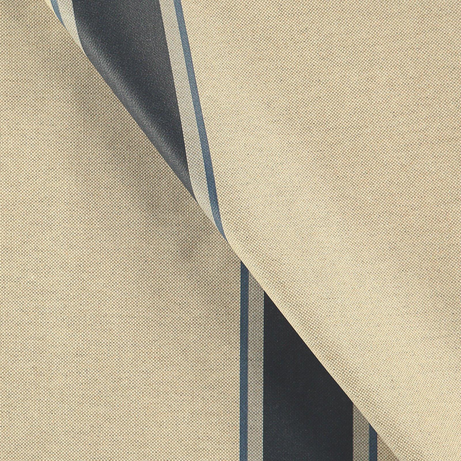 Woven oilcloth linenlook w blue stripes