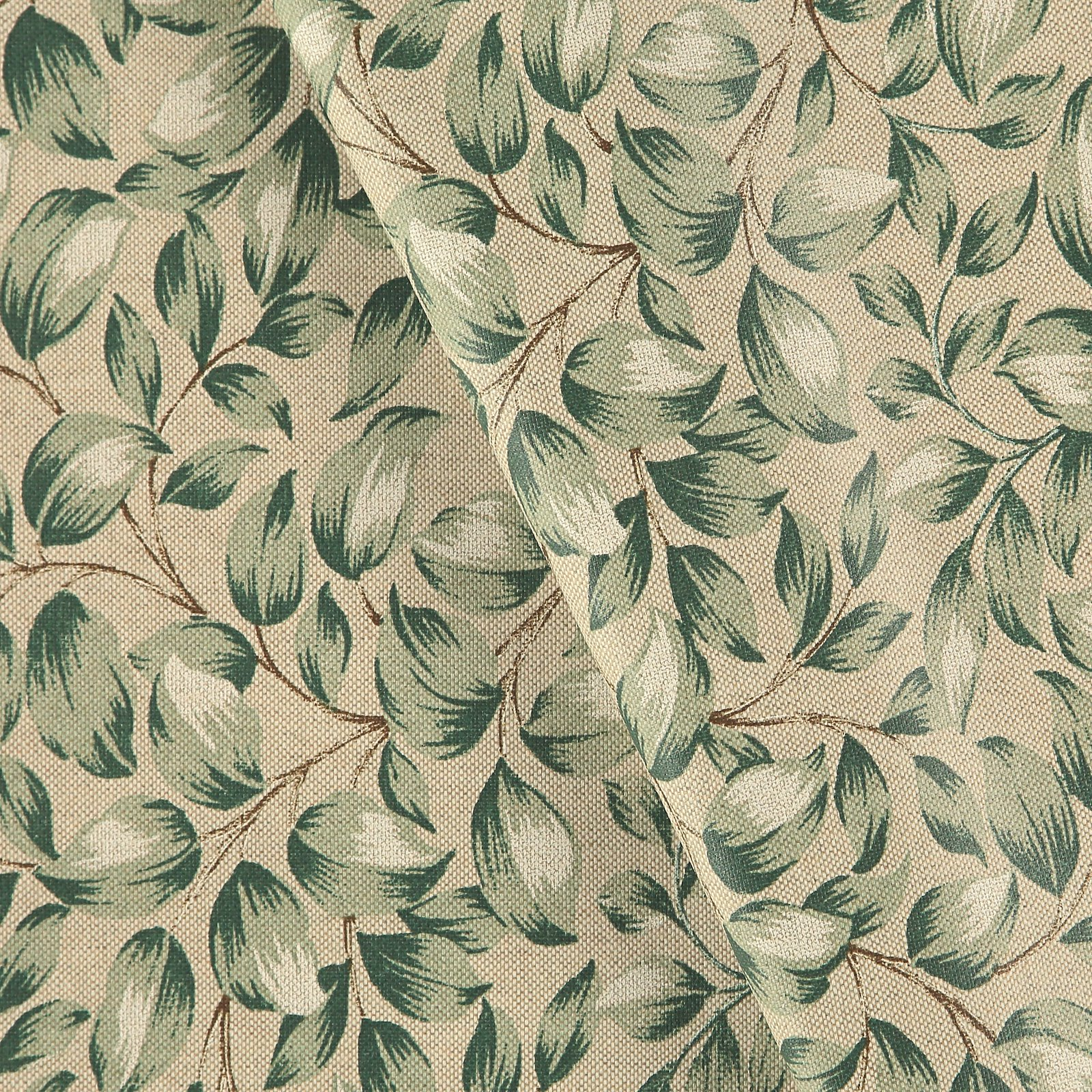 Woven oilcloth linenlook w green leaves
