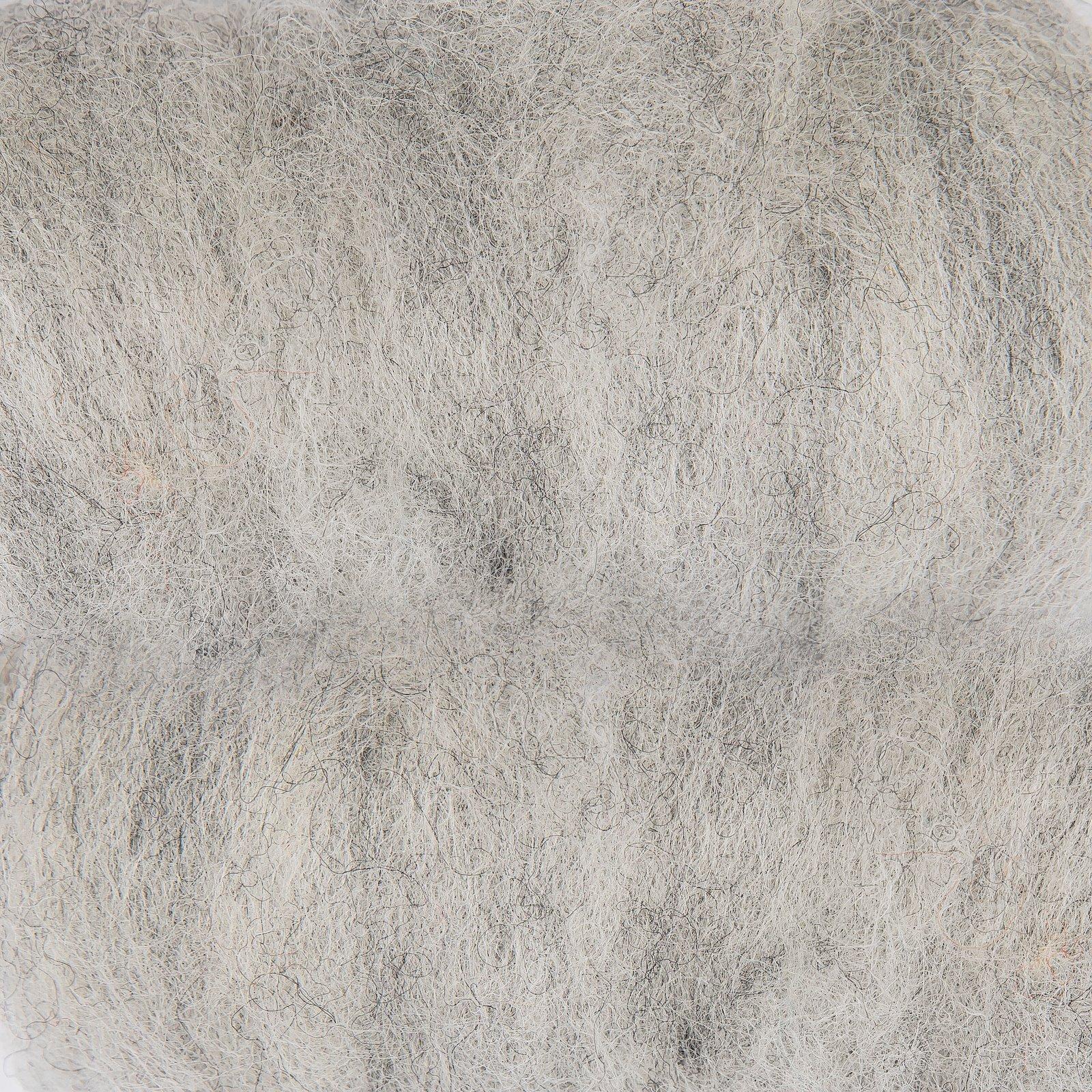 Carded wool grey 50g