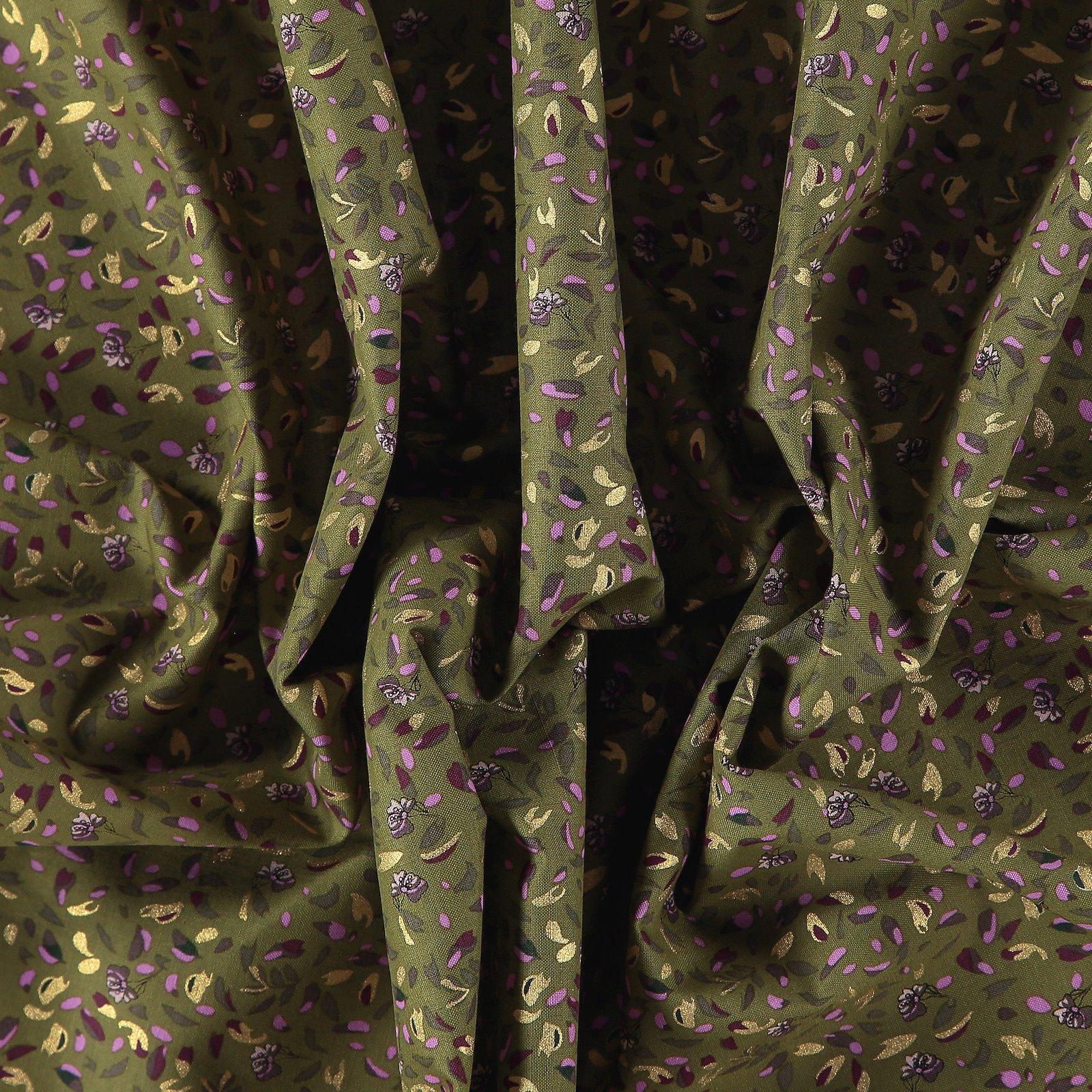 Fat Quarter 45x55cm, Grün/Gold, Blumen