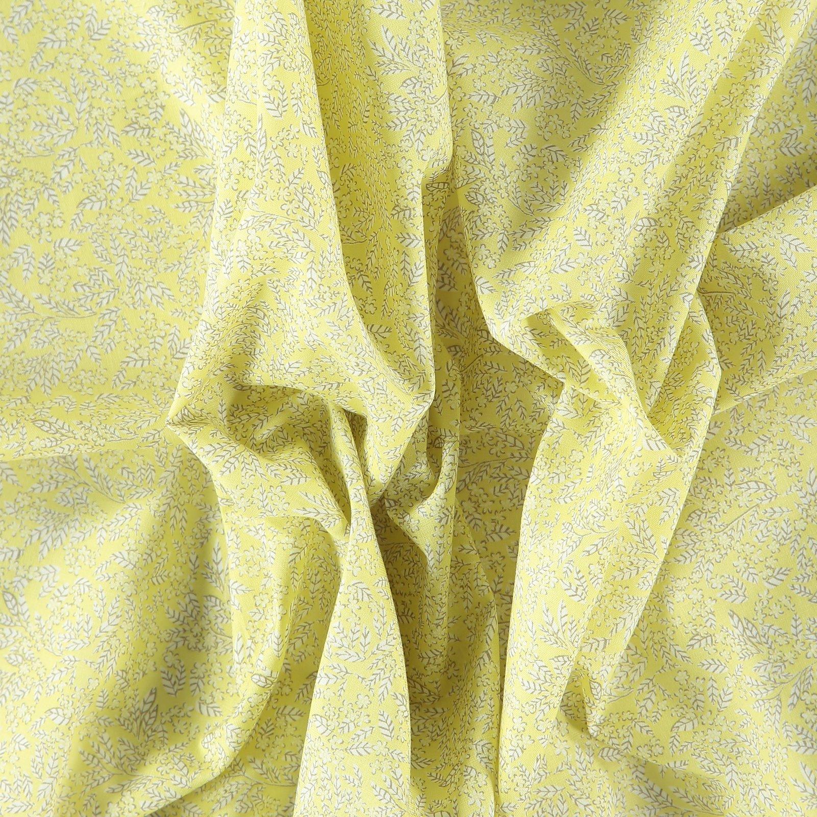 Fat Quarter 45x55cm, Lemon/Weiß Blätter