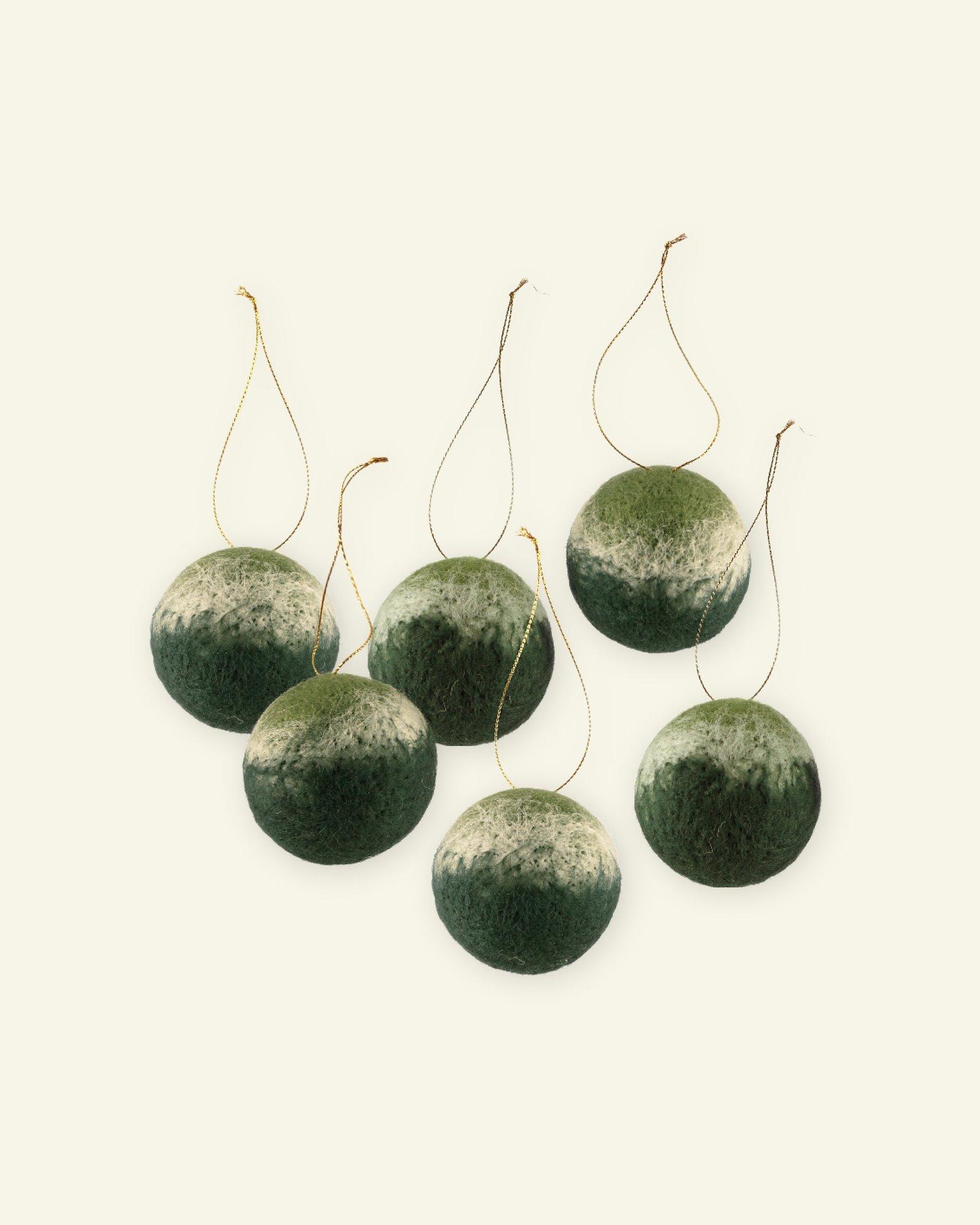 Kit wool baubles 60mm green 6 pcs