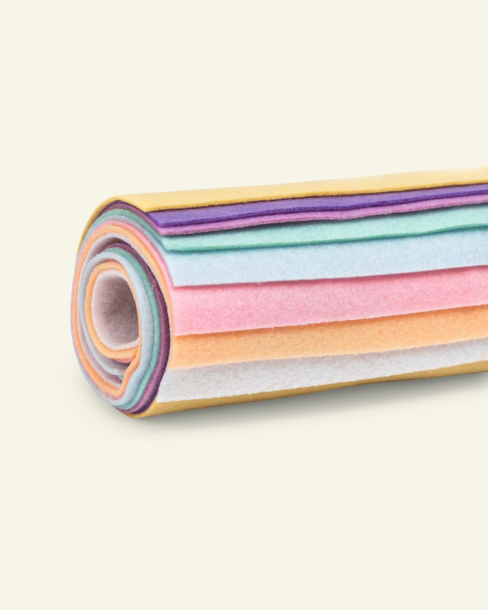Felt 1,3mm 19,5x30cm pastel colours 8pcs