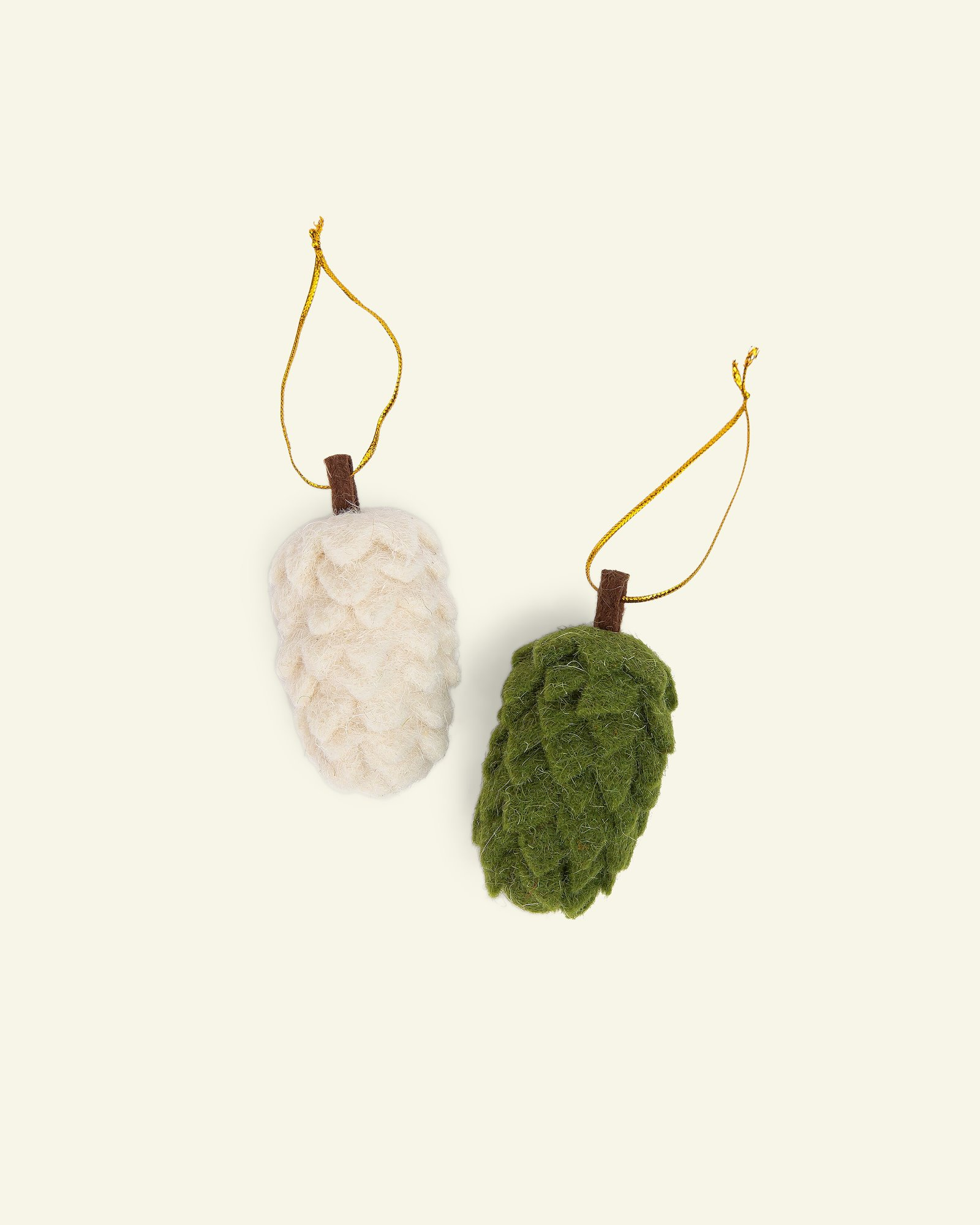 Kit wool cones 10cm green/offwhite 2pcs