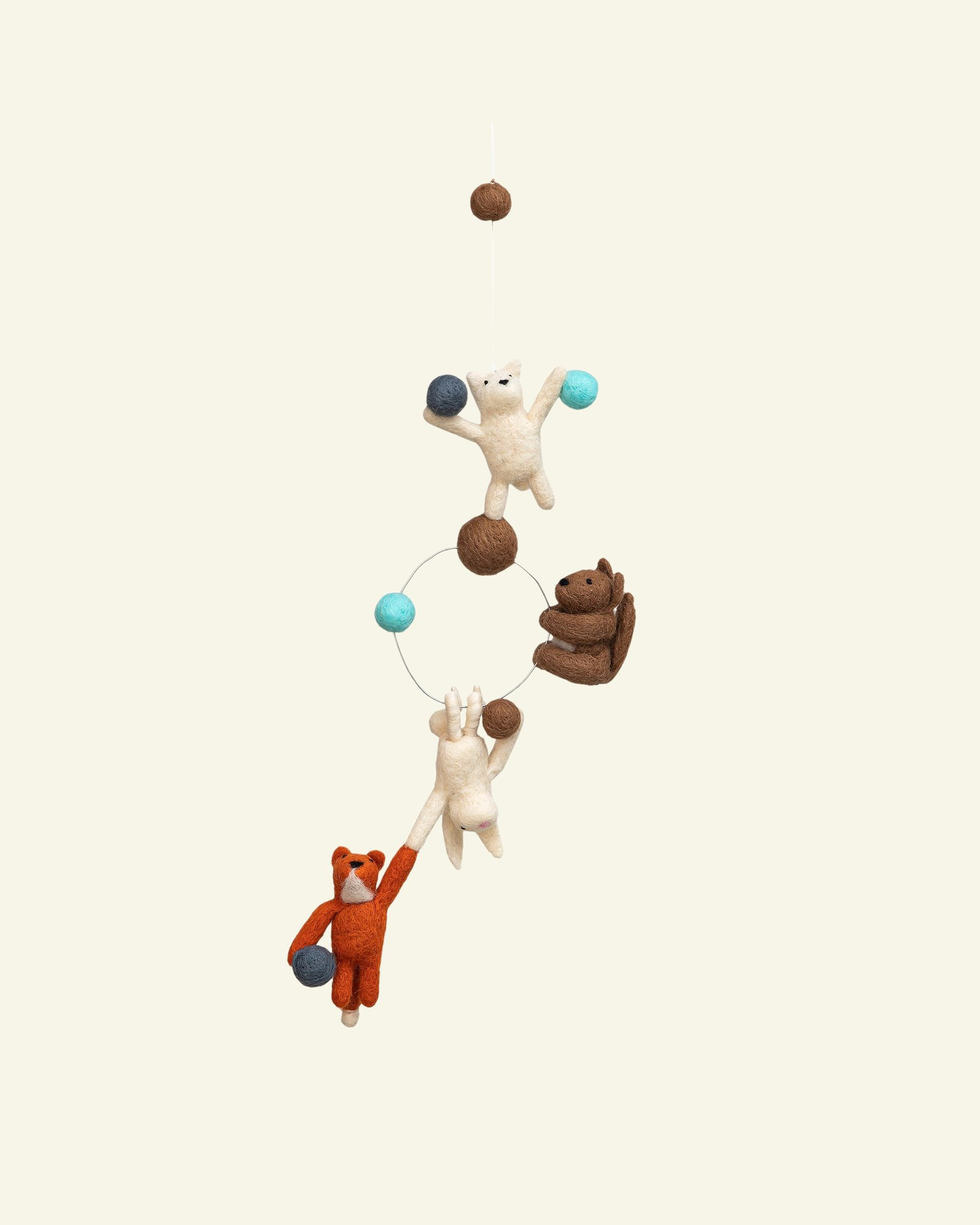 Kit wool 4 animals and balls 1pc