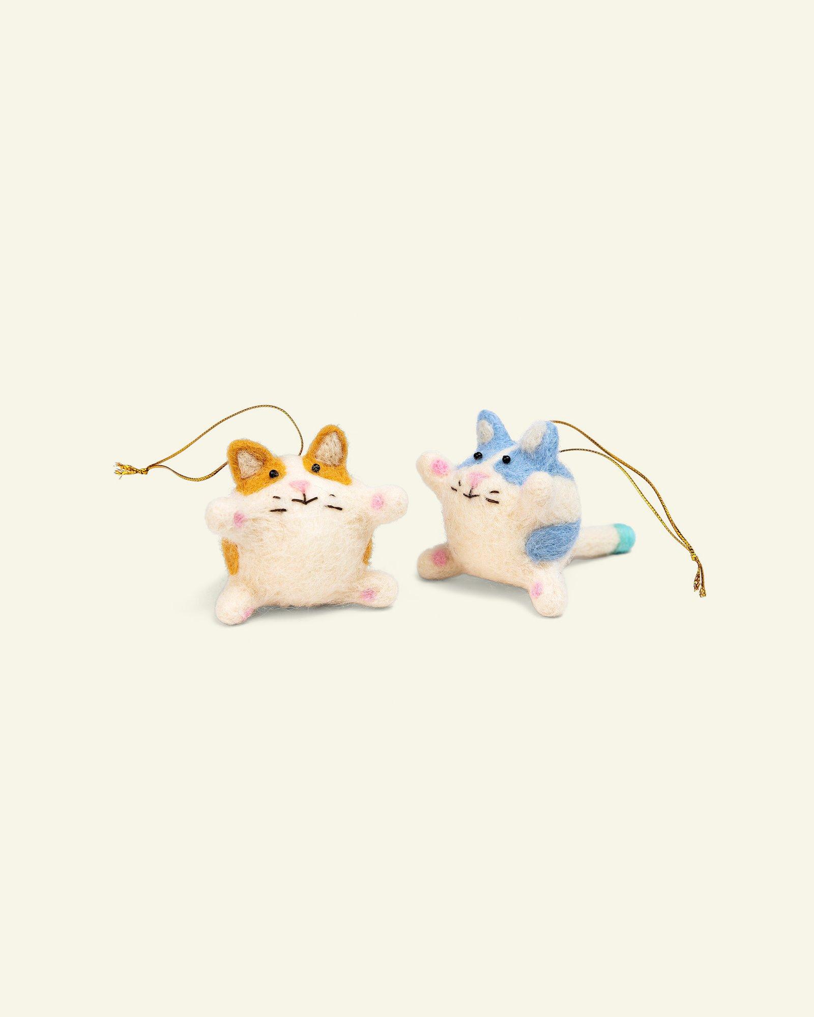 Kit wool cats 6cm nature 2pcs