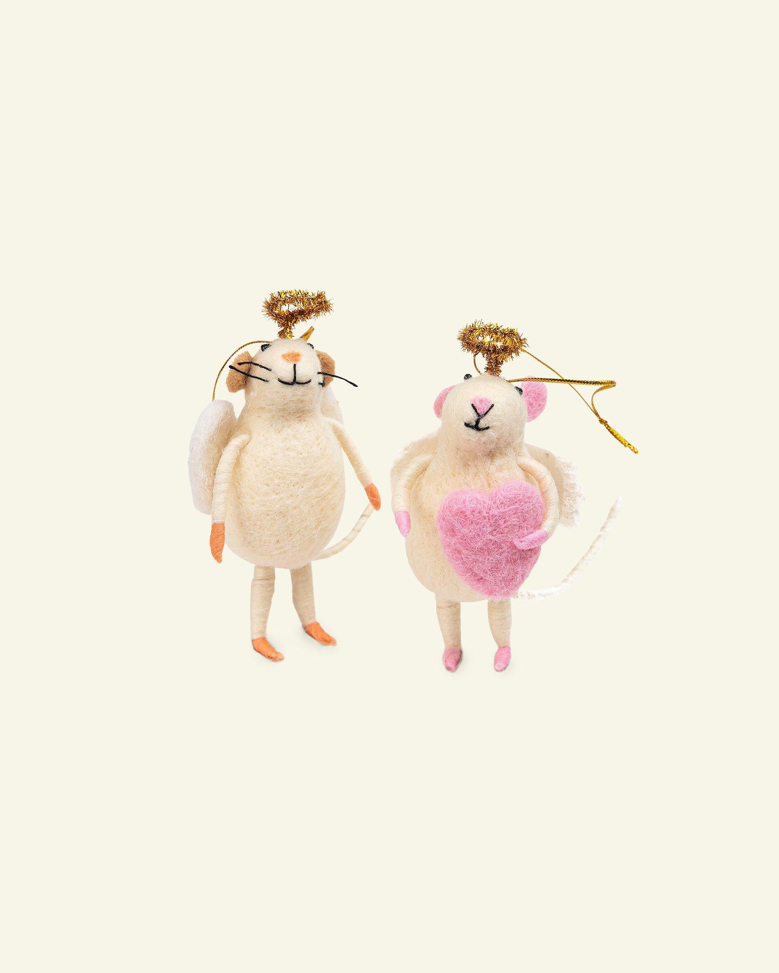 Kit wool mouse w/halo 12cm offwhite 2pcs