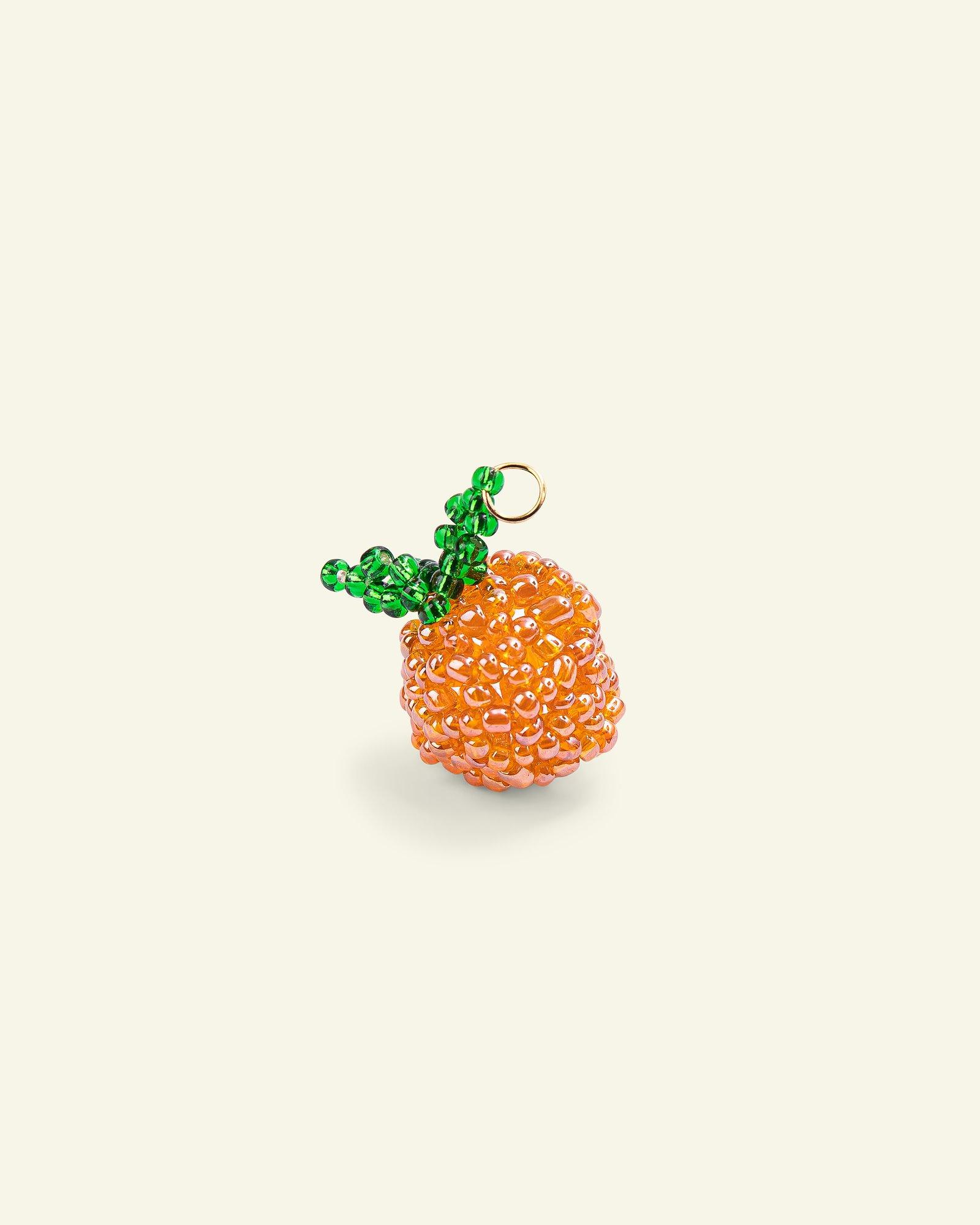 Pendant glass pearl apricot 30x20mm 1pc
