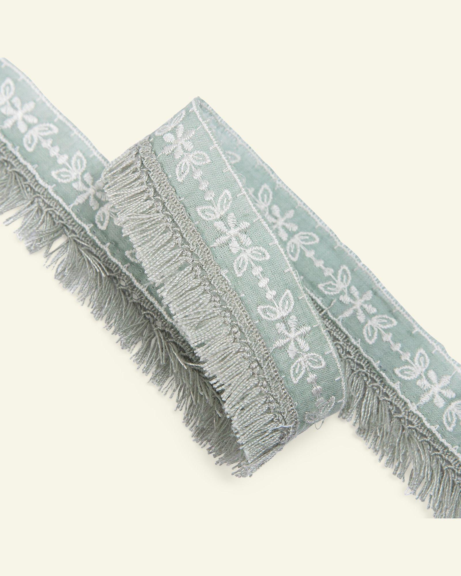 Ribbon woven w/fringes 30mm sage 1,5m