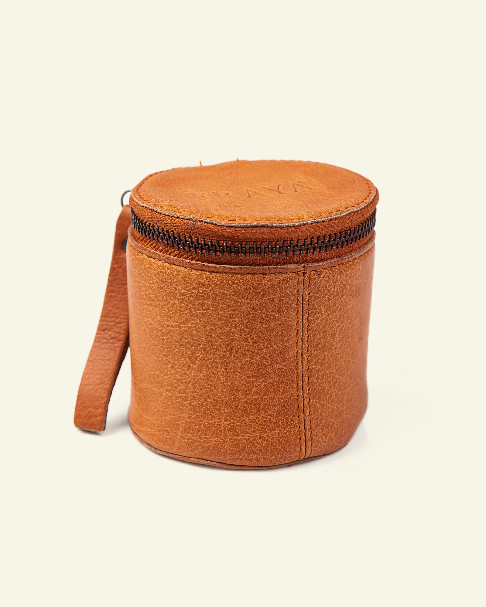 FRAYA leather cube Ø:9xH:8cm brown