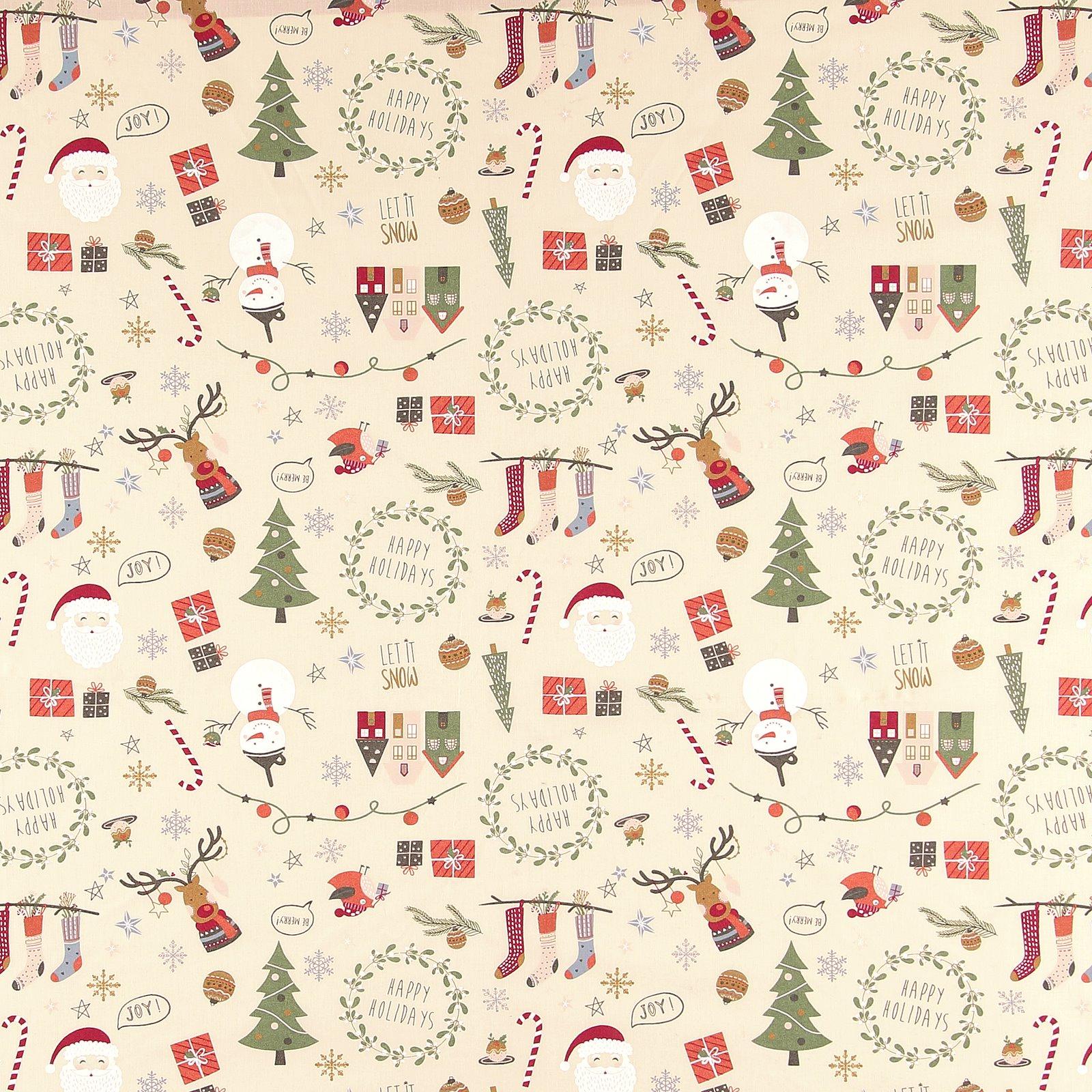 Baumwolle, Beige mit Weihnachtsmotiv 790138_pack_sp
