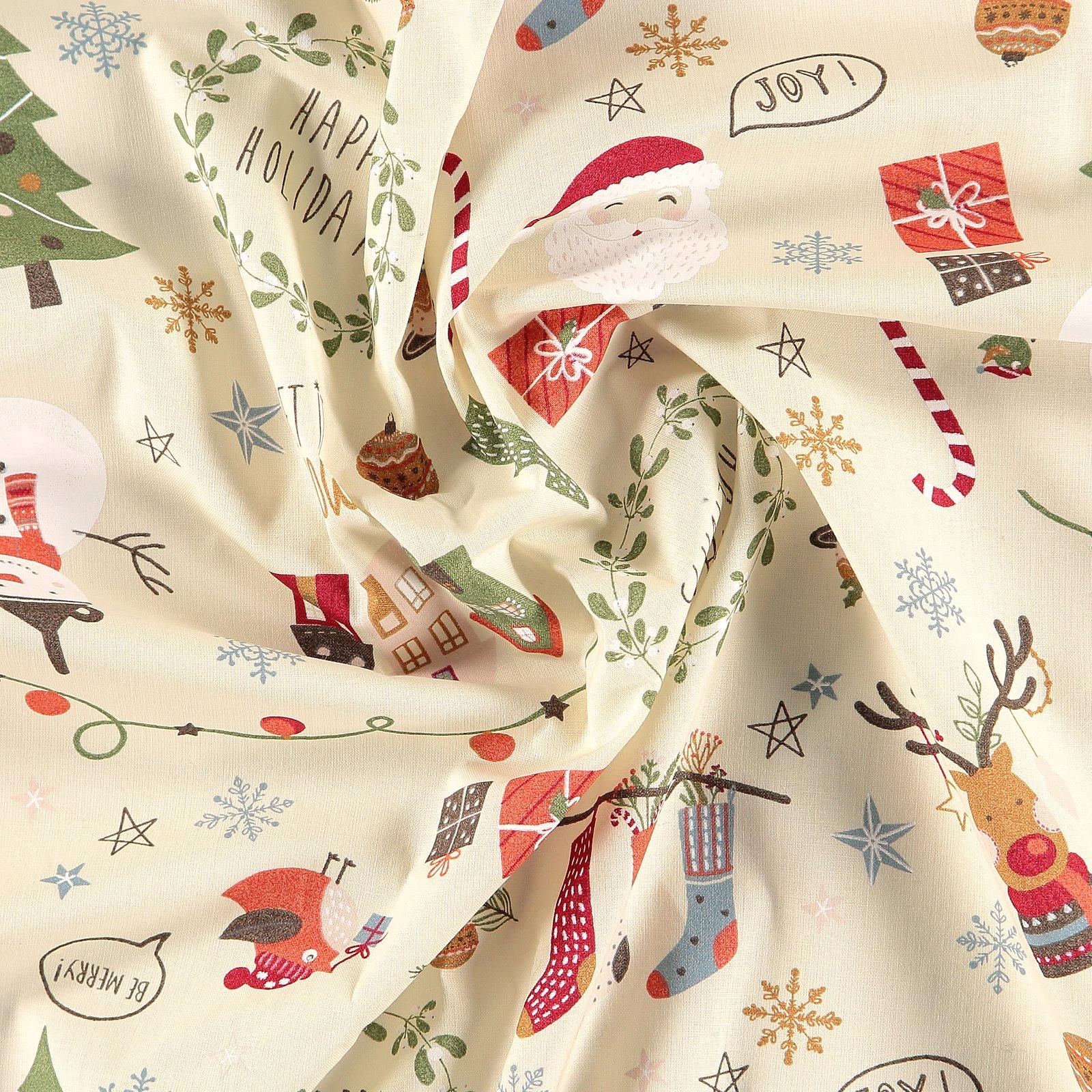 Baumwolle, Beige mit Weihnachtsmotiv 790138_pack