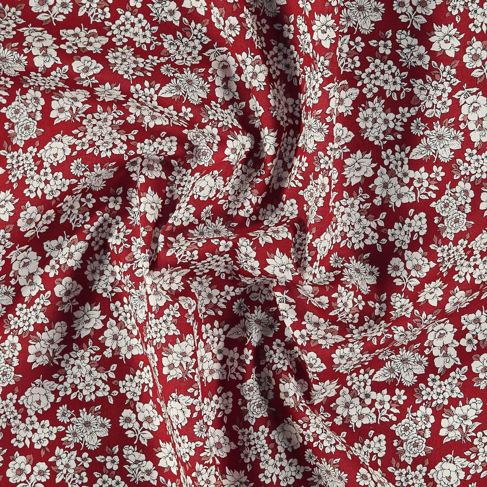 Baumwolle, Klassisch rot, weiße Blumen 852398_pack