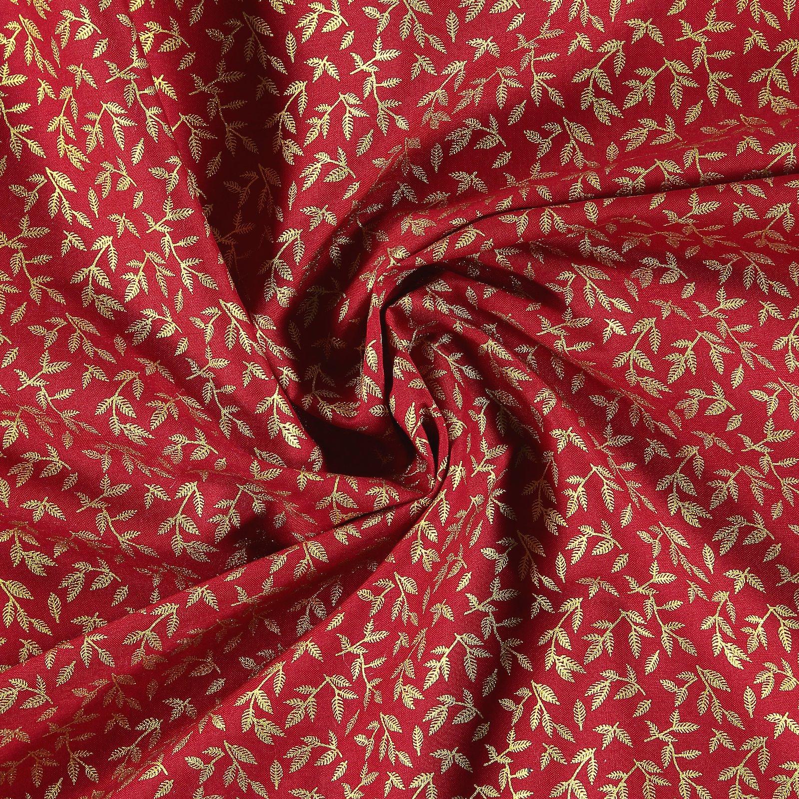 Baumwolle, Rot mit goldenen Blättern 852325_pack