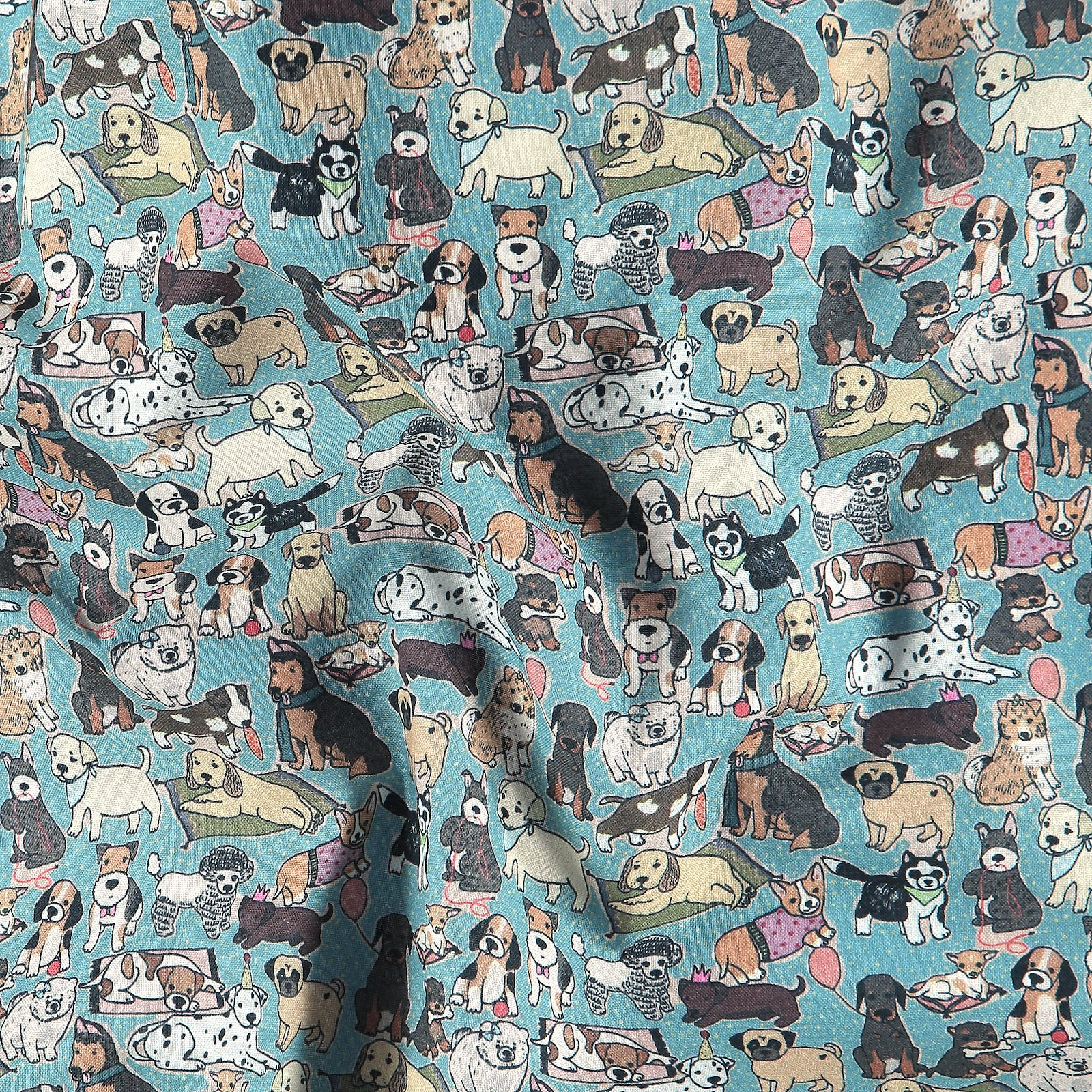 BCI cotton dusty aqua blue with dogs 780560_pack