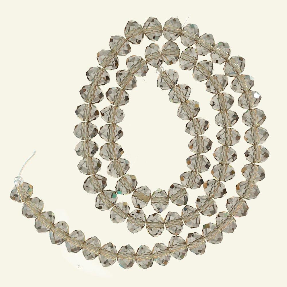 Beads glass 6x8mm transparent sand 72pcs 45930_pack