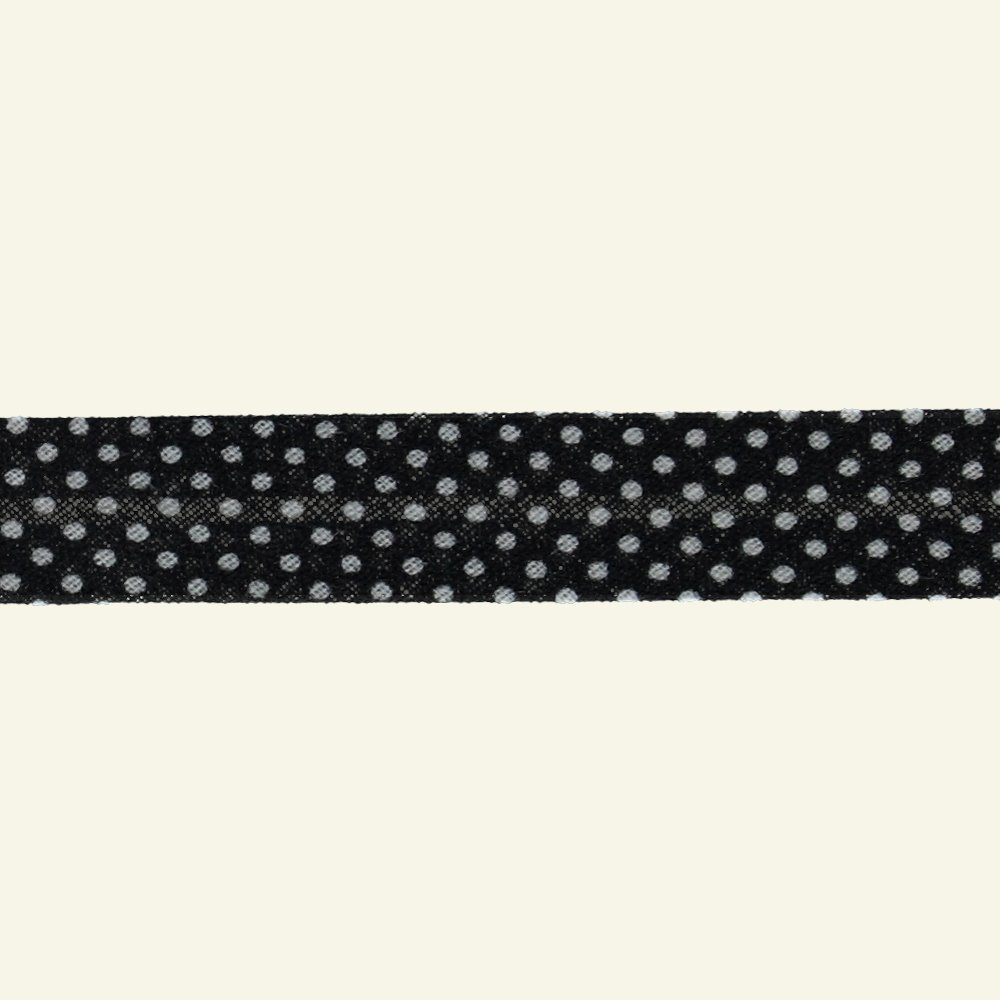 Bias tape cotton 18mm black dot 5m 67043_pack