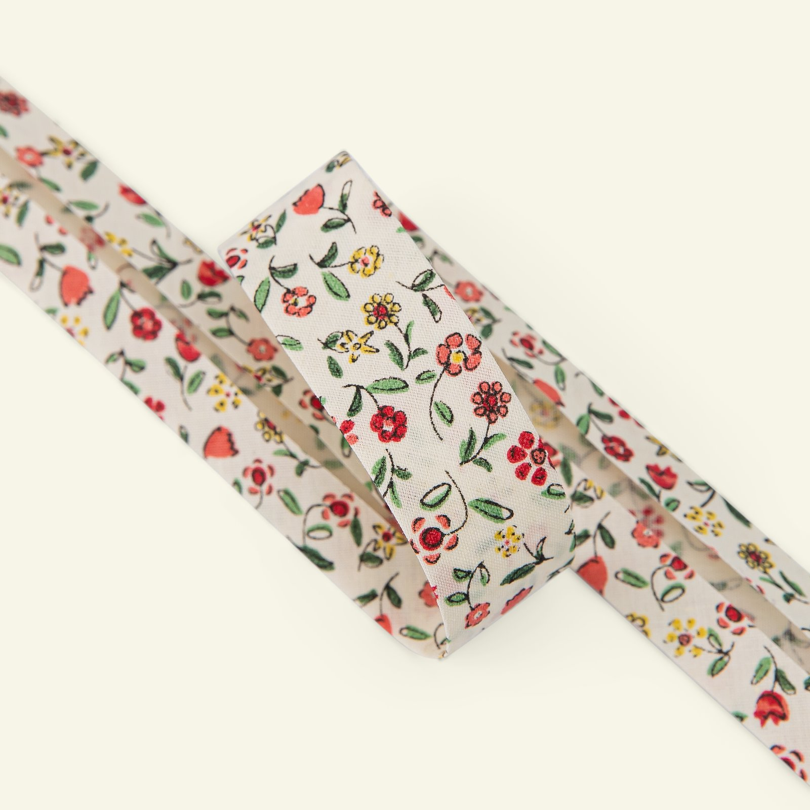Bias tape flowers 20mm offwhite/red 3m 22346_pack