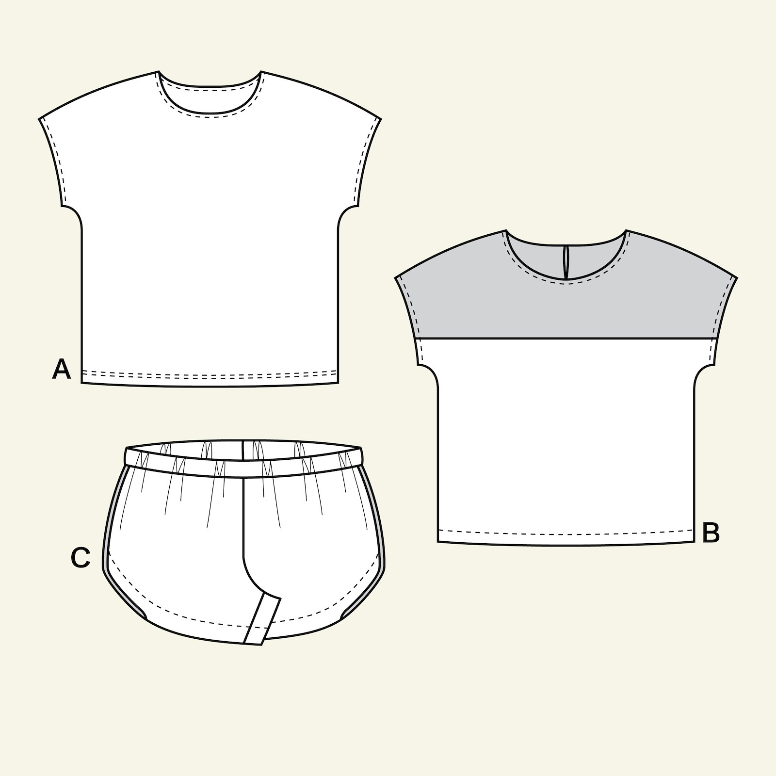 Blouse and shorts, 122/7y p65021_pack