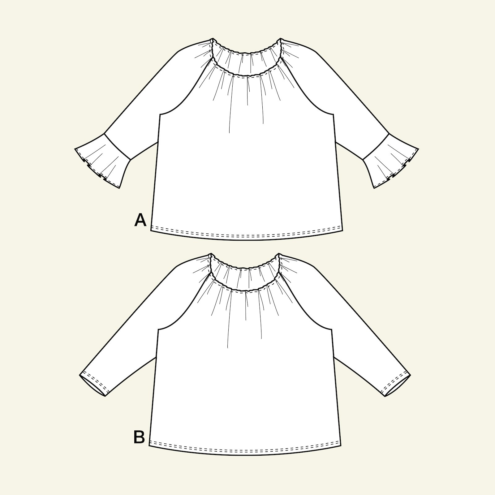 Blouse w. gathering/flounce sleeve, 52/2 p72004_pack