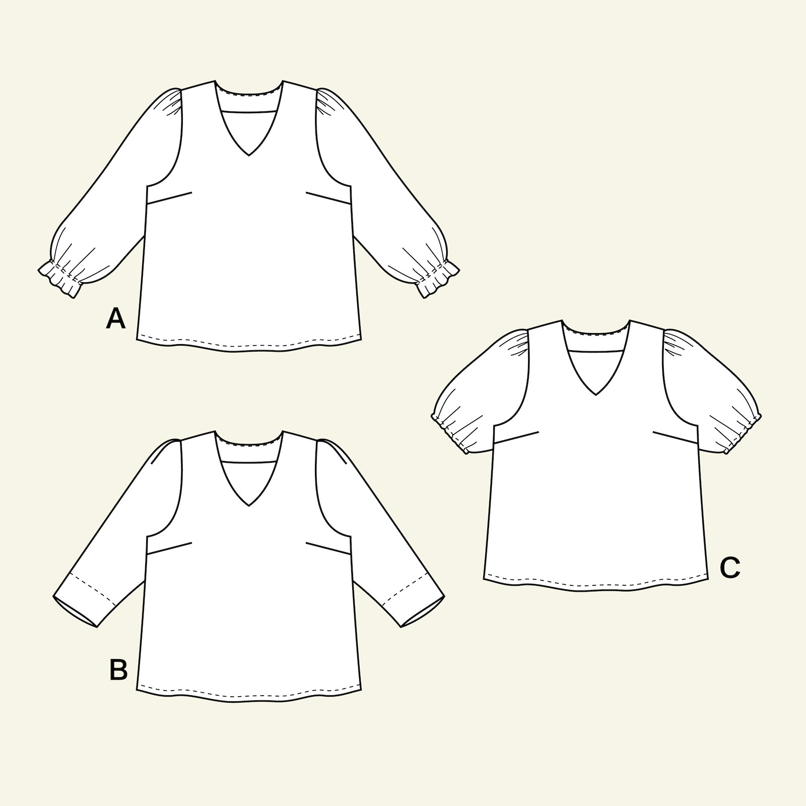 Blouse with long and short sleeve, 58/30 p72006_pack