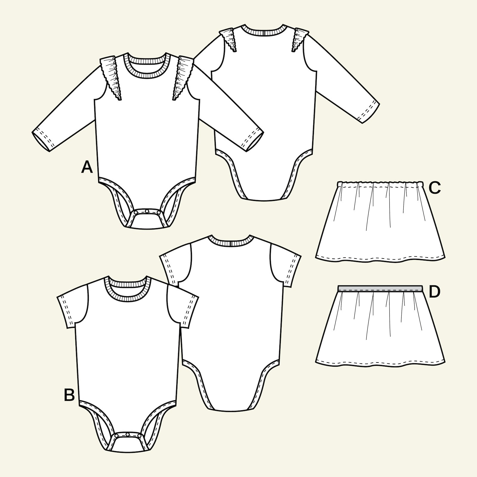 Bodysuit and skirt, 68/3m p81027_pack