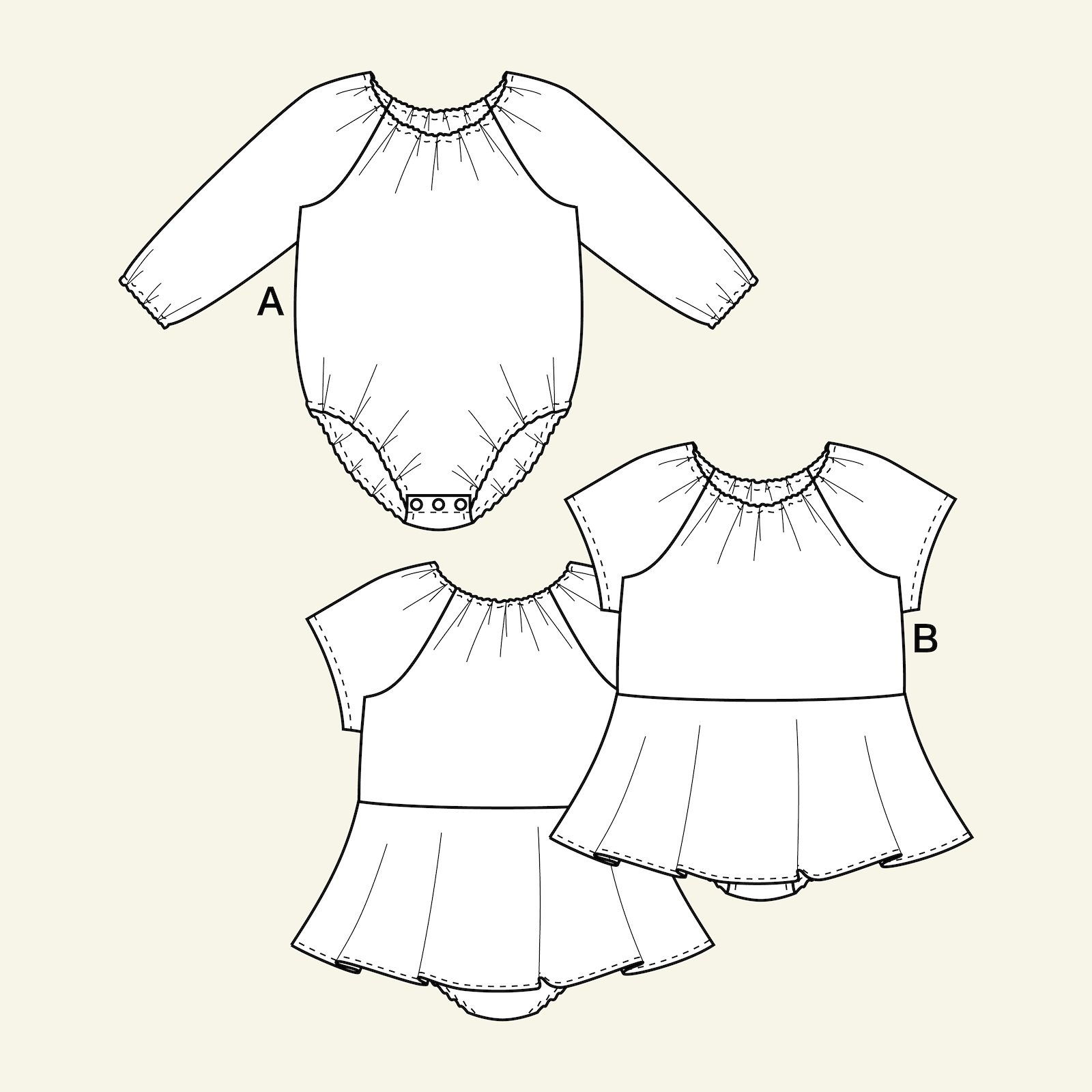 Bodysuit with/without skirt, 74/9m p82003_pack