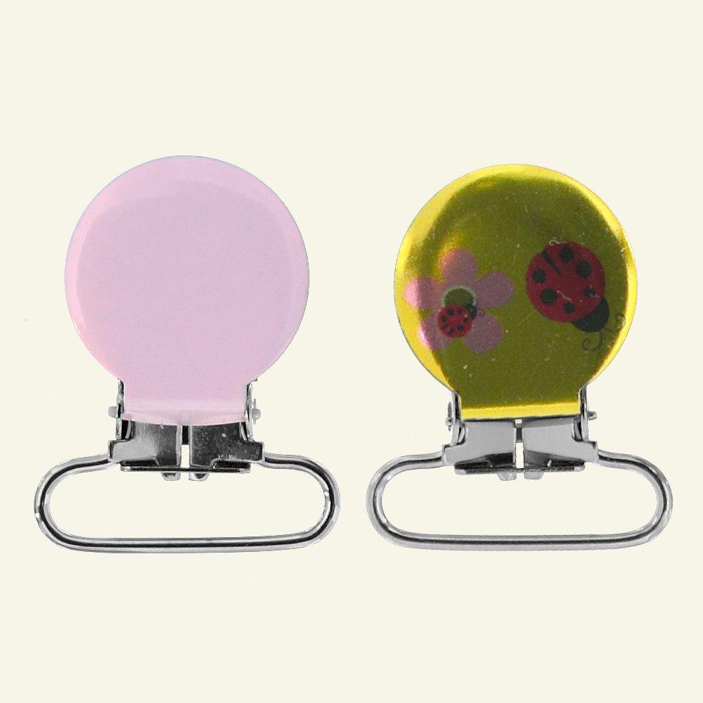 Brace clips 25mm ladybug yellow/red 2pcs 43115_pack