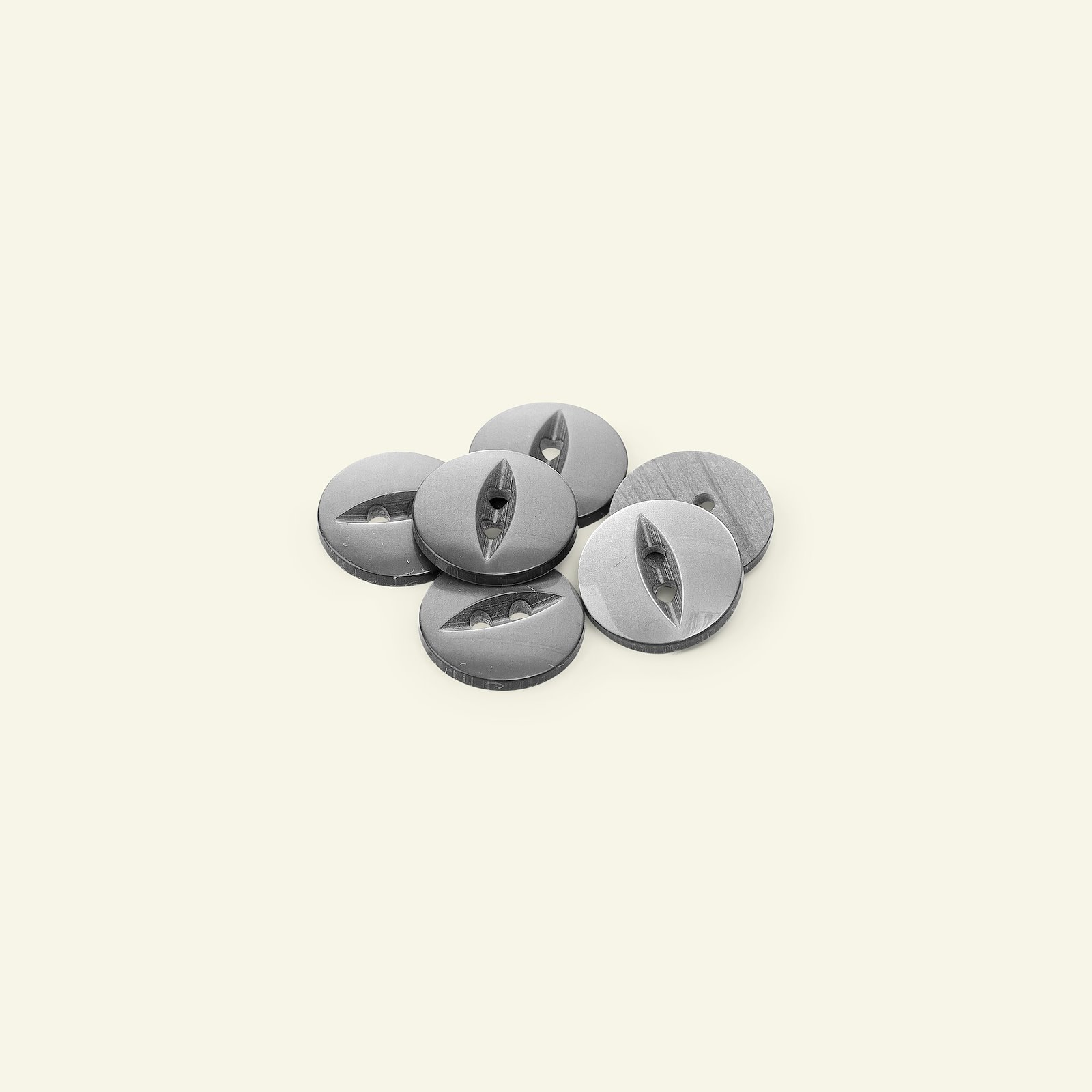 Button 2-holes 16mm grey 6pcs 33109_pack