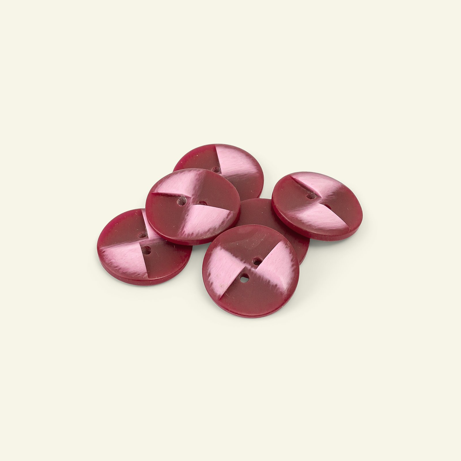 Button 2-holes 23mm red 6pcs 33607_pack