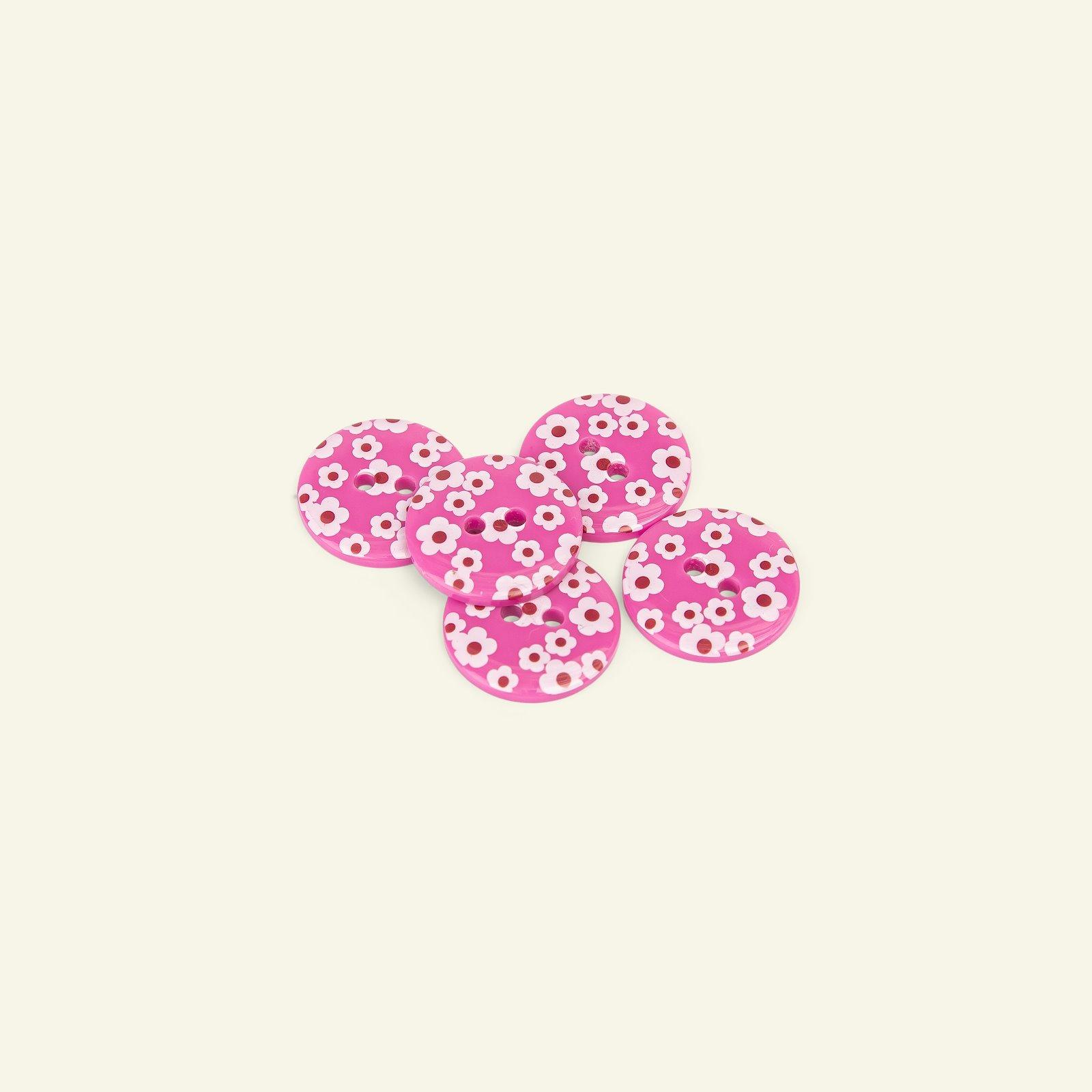 Button 2-holes flowerprint 18mm pink 5p 33371_pack