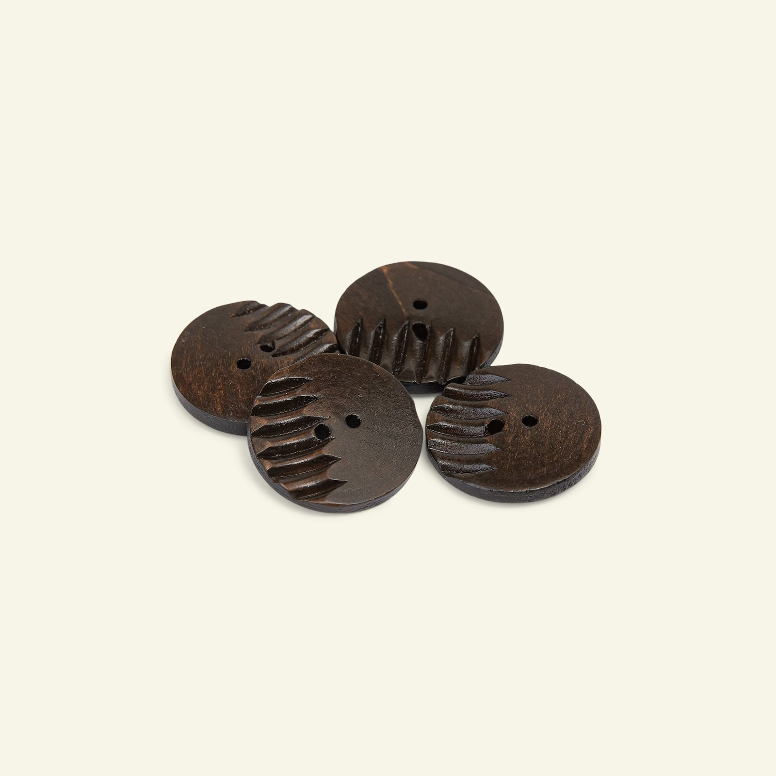 Button 2-holes grooved 40mm brown 4pcs 33530_pack
