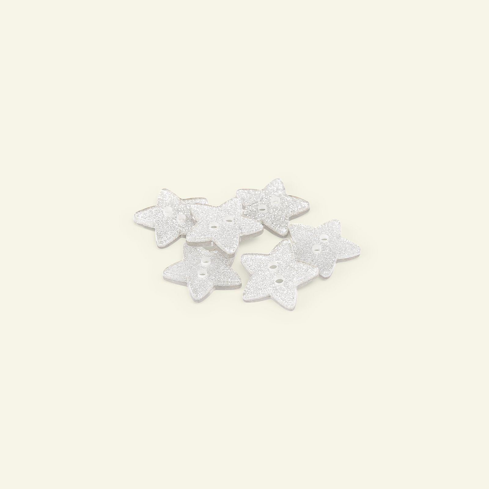Button 2-holes star 18mm silver 6pcs 33482_pack