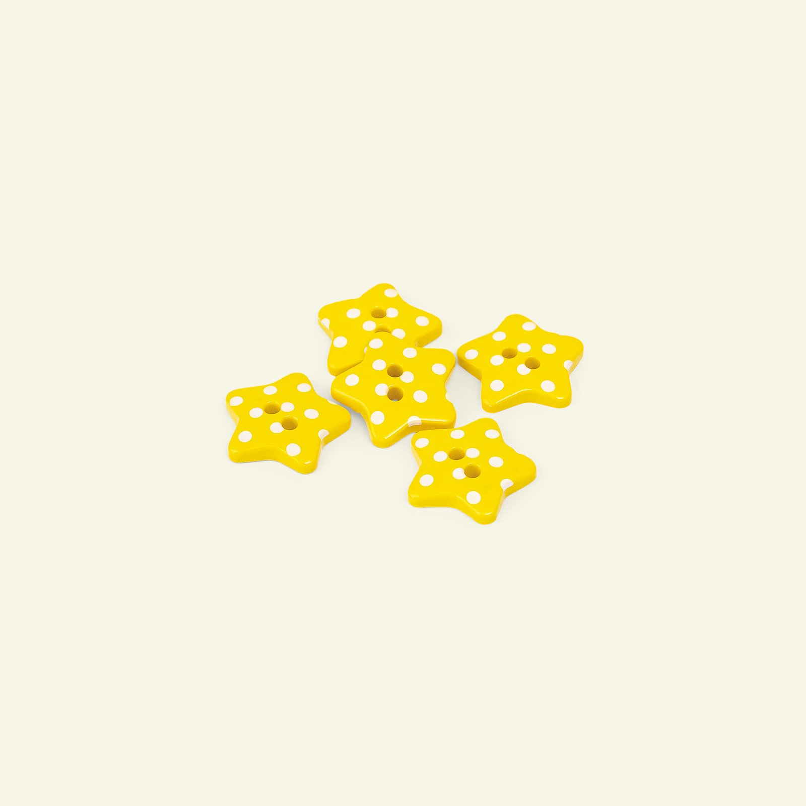 Button 2-holes star 18mm yellow 5pcs 33255_pack