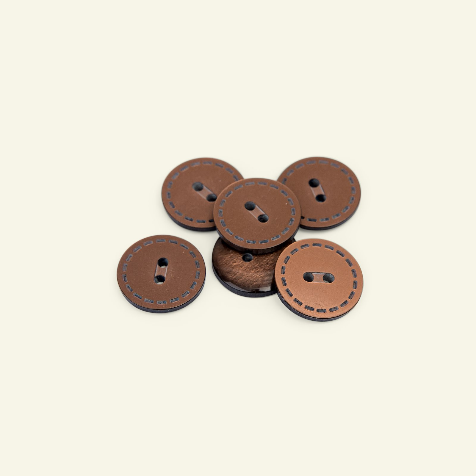 Button 2-holes stitch rim 20mm brown 6pc 33424_pack