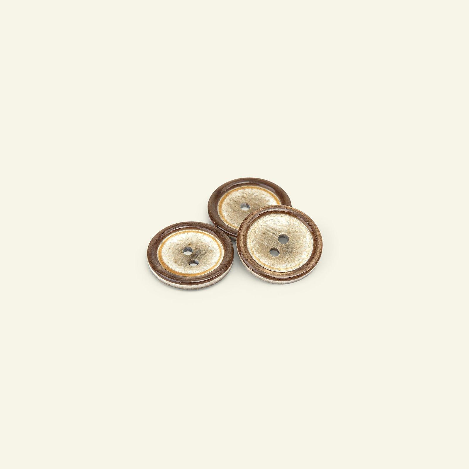 Button 2-holes w/rim 20mm brown 3pcs 33359_pack