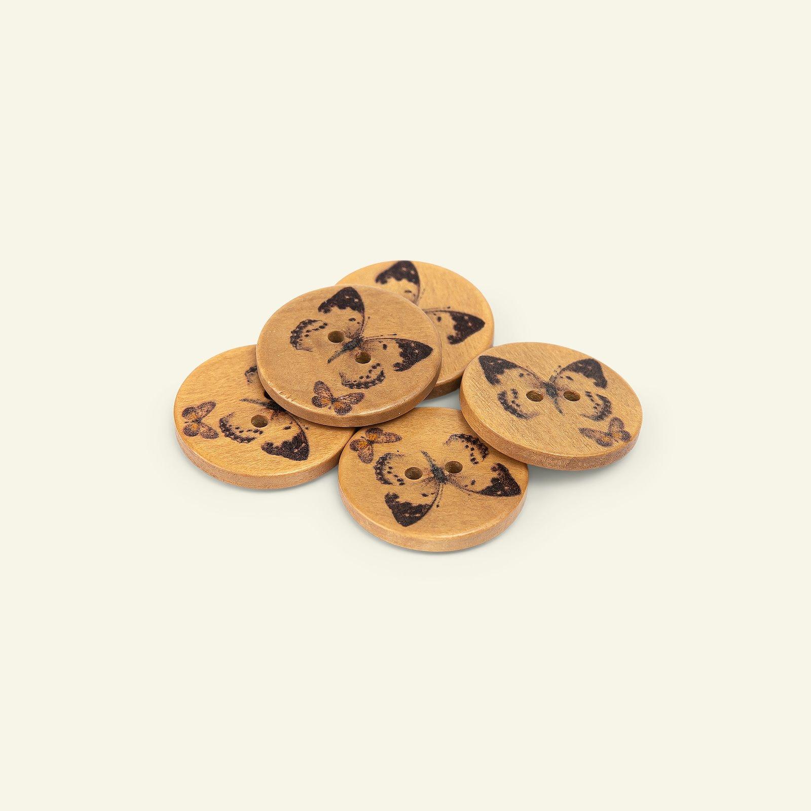 Button 2-holes wood 25mm black 5pcs 33501_pack