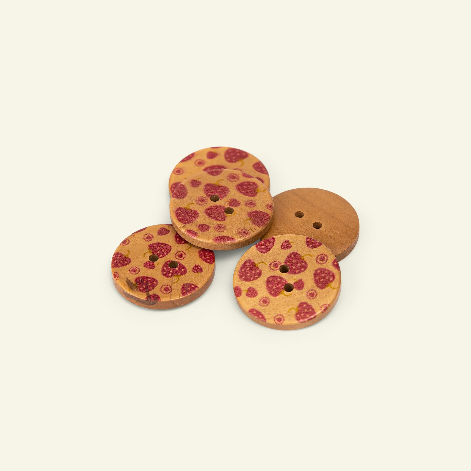 Button 2-holes wood berry 25mm red 5pcs 33500_pack