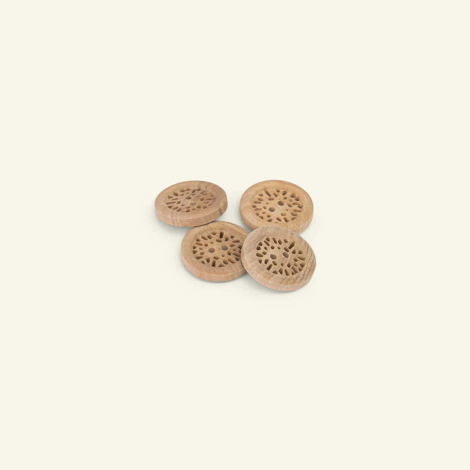 Button 2-holes wood carved w/rim 28mm 4p 33528_pack