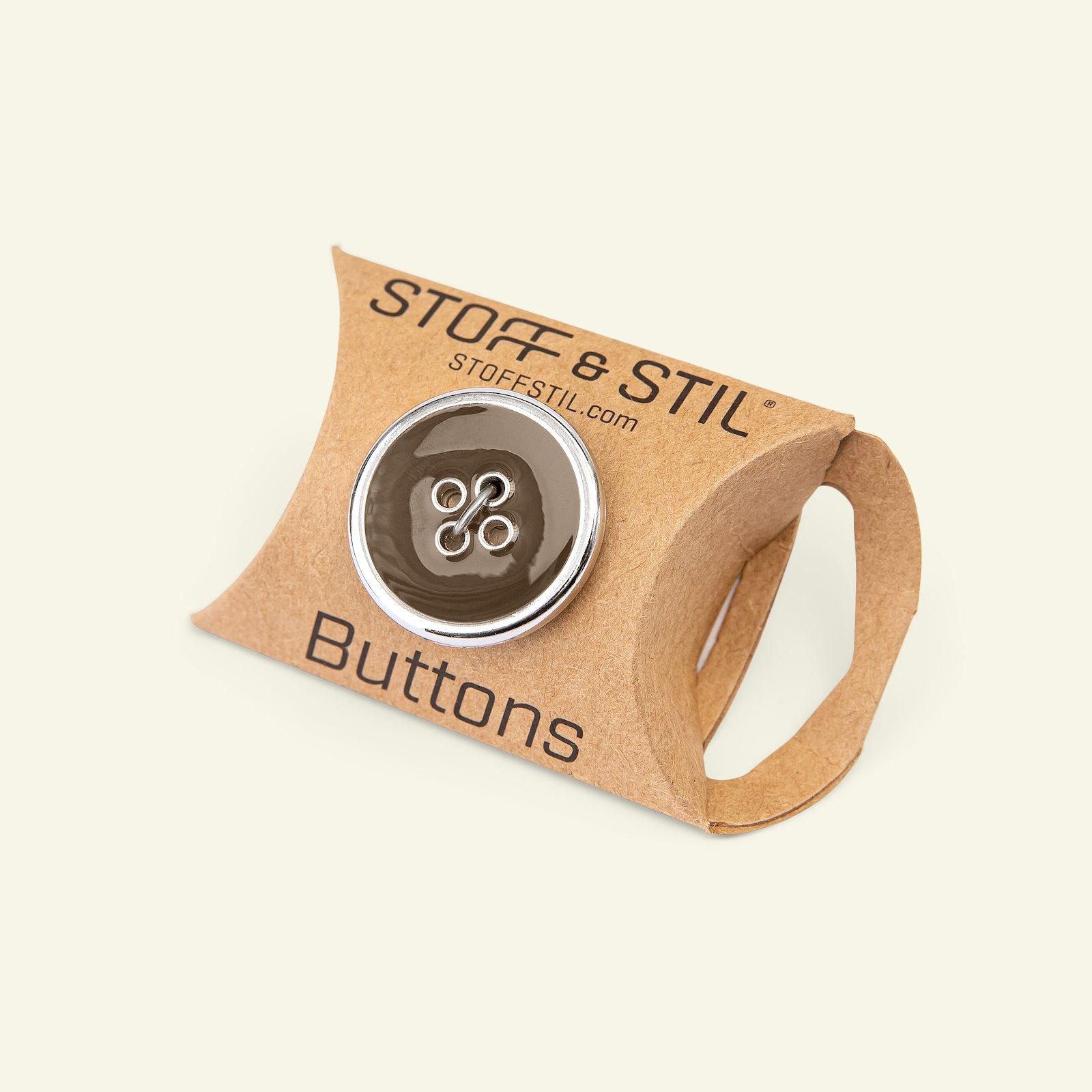 Button 4-hole silver rim 25mm brown 3pcs 33412_pack_b