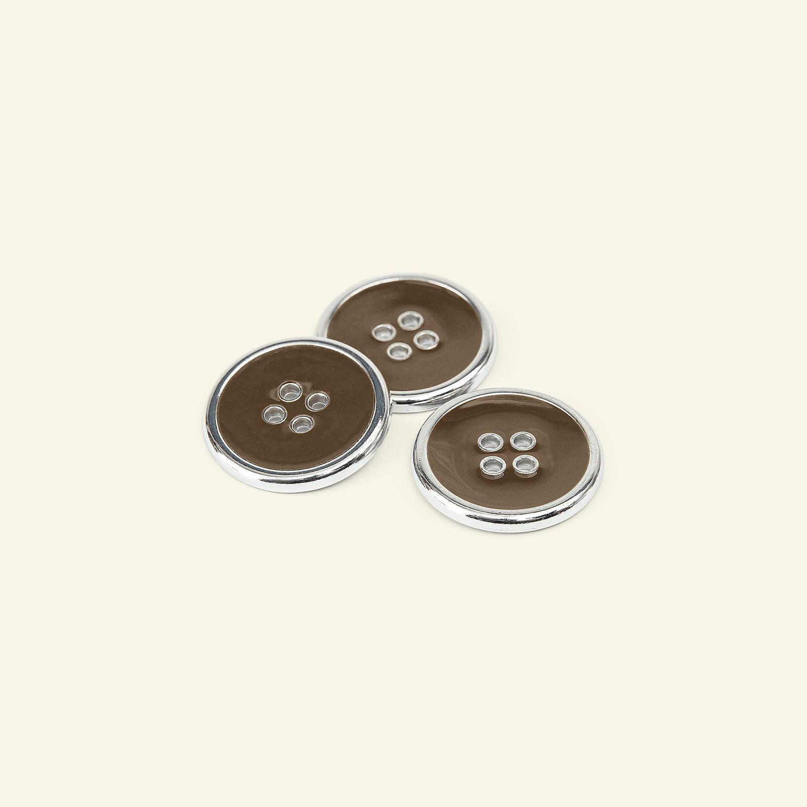 Button 4-hole silver rim 25mm brown 3pcs 33412_pack