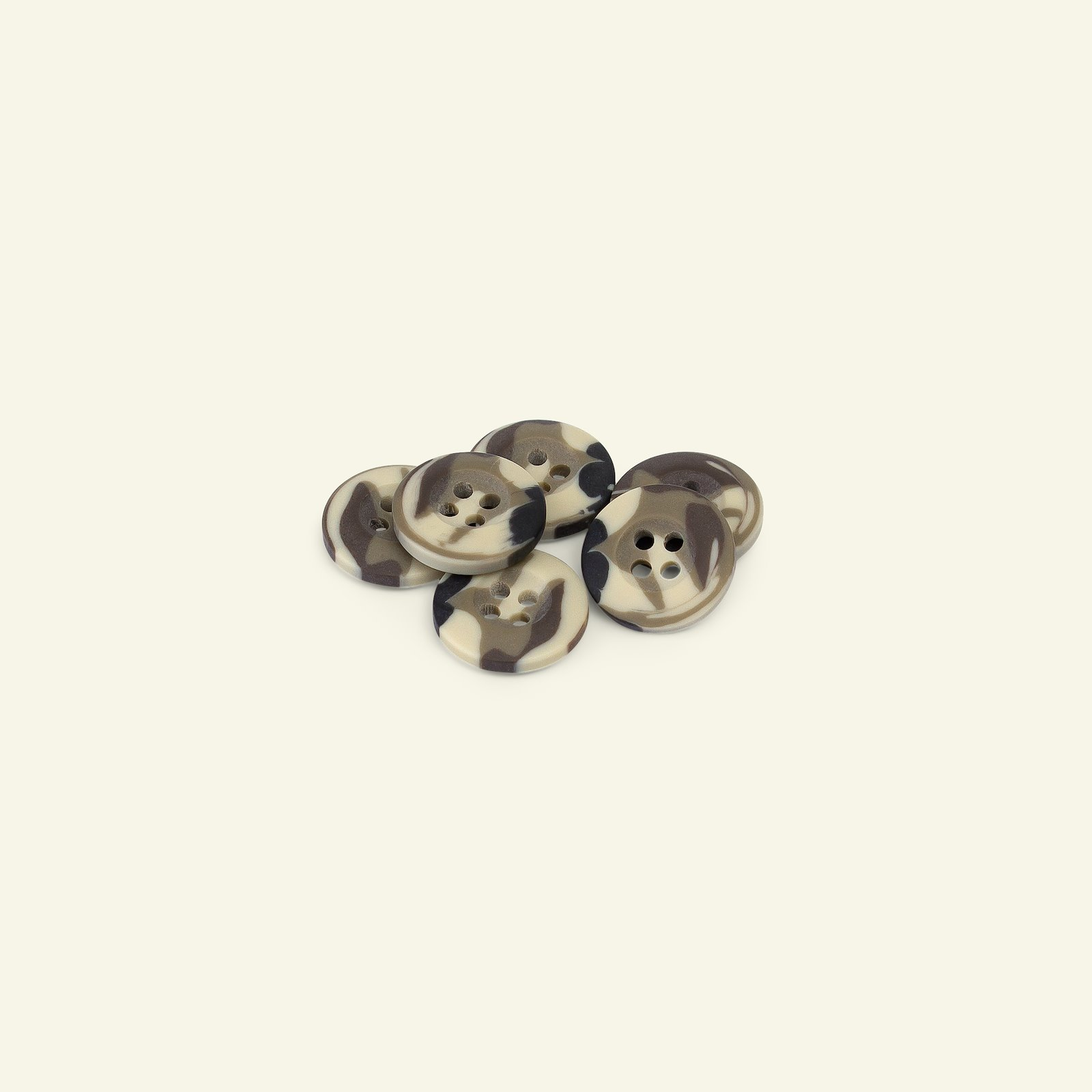 Button 4-holes camouflage 15mm army 6pcs 33132_pack