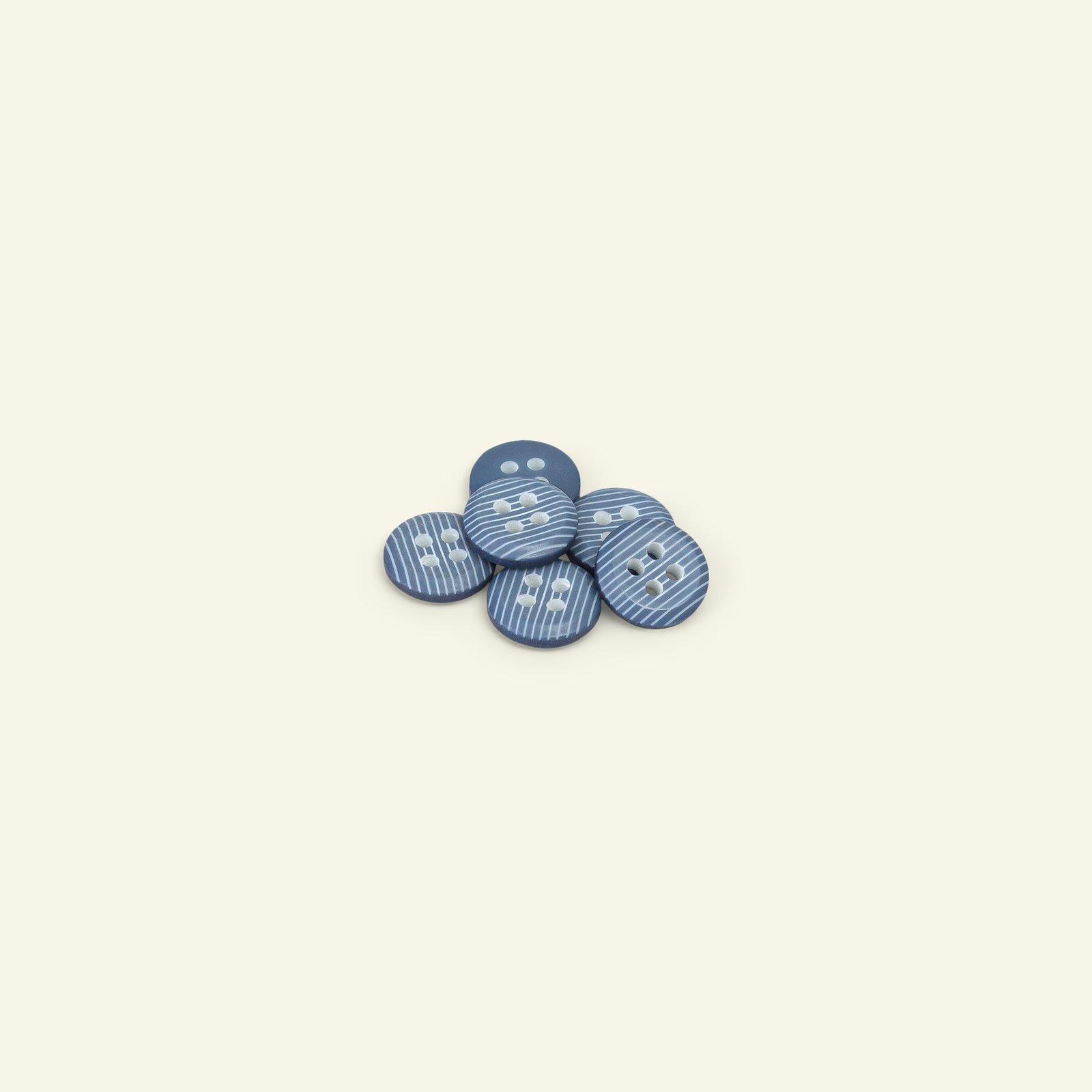 Button 4-holes stripe 12mm blue 6pcs 33160_pack