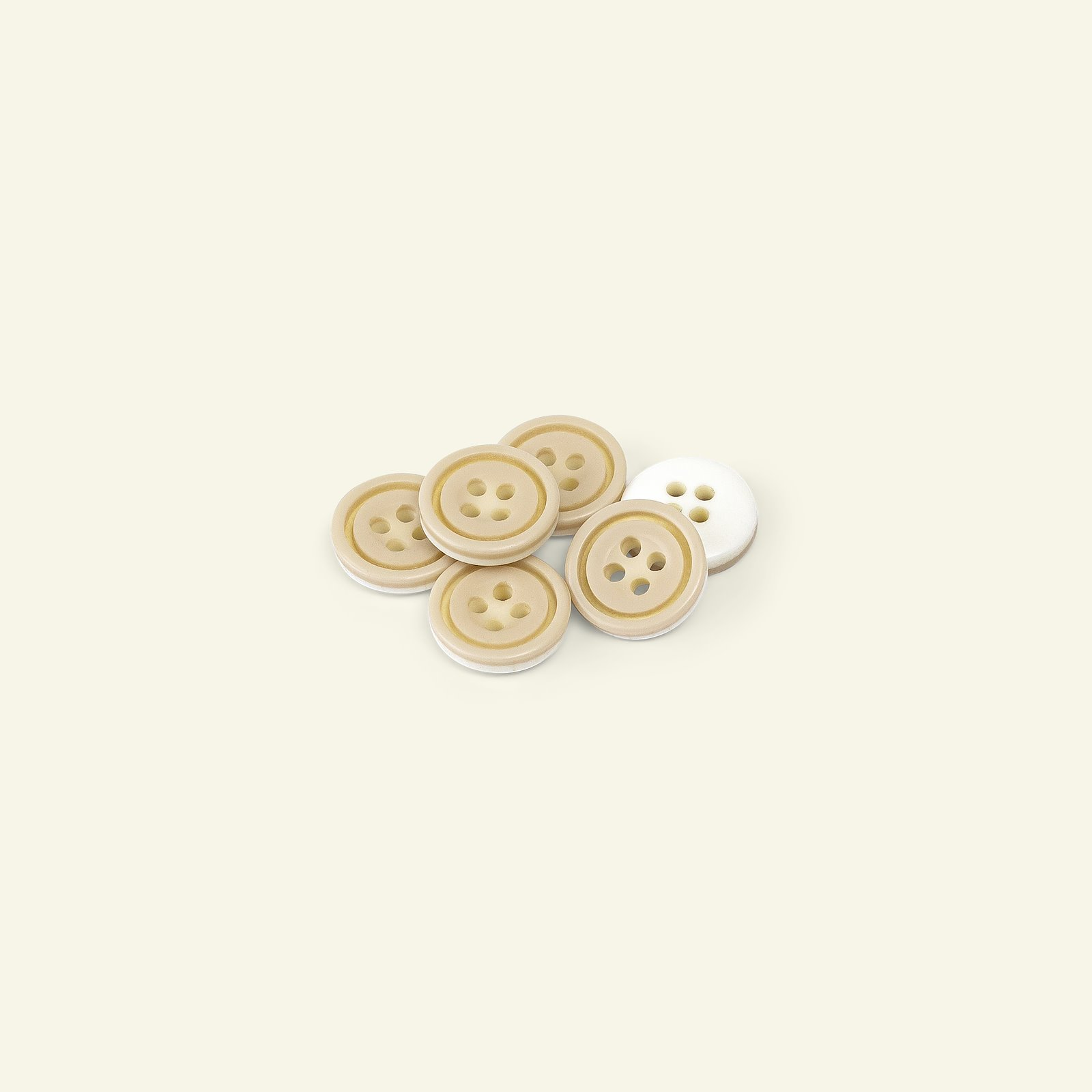 Button 4-holes w/rim 14mm brown/white 6p 33068_pack