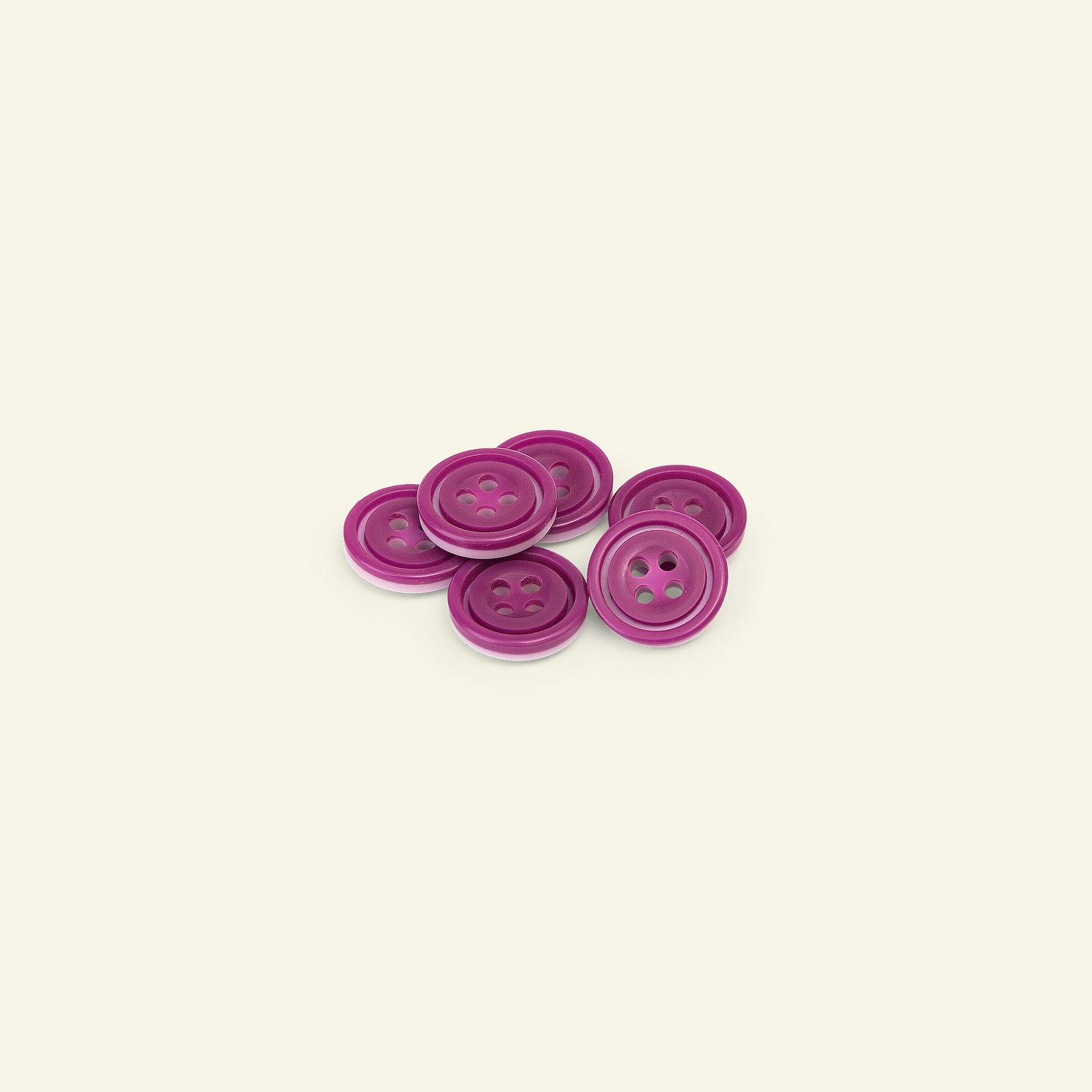 Button 4-holes w/rim 14mm purple/rose 6p 33397_pack