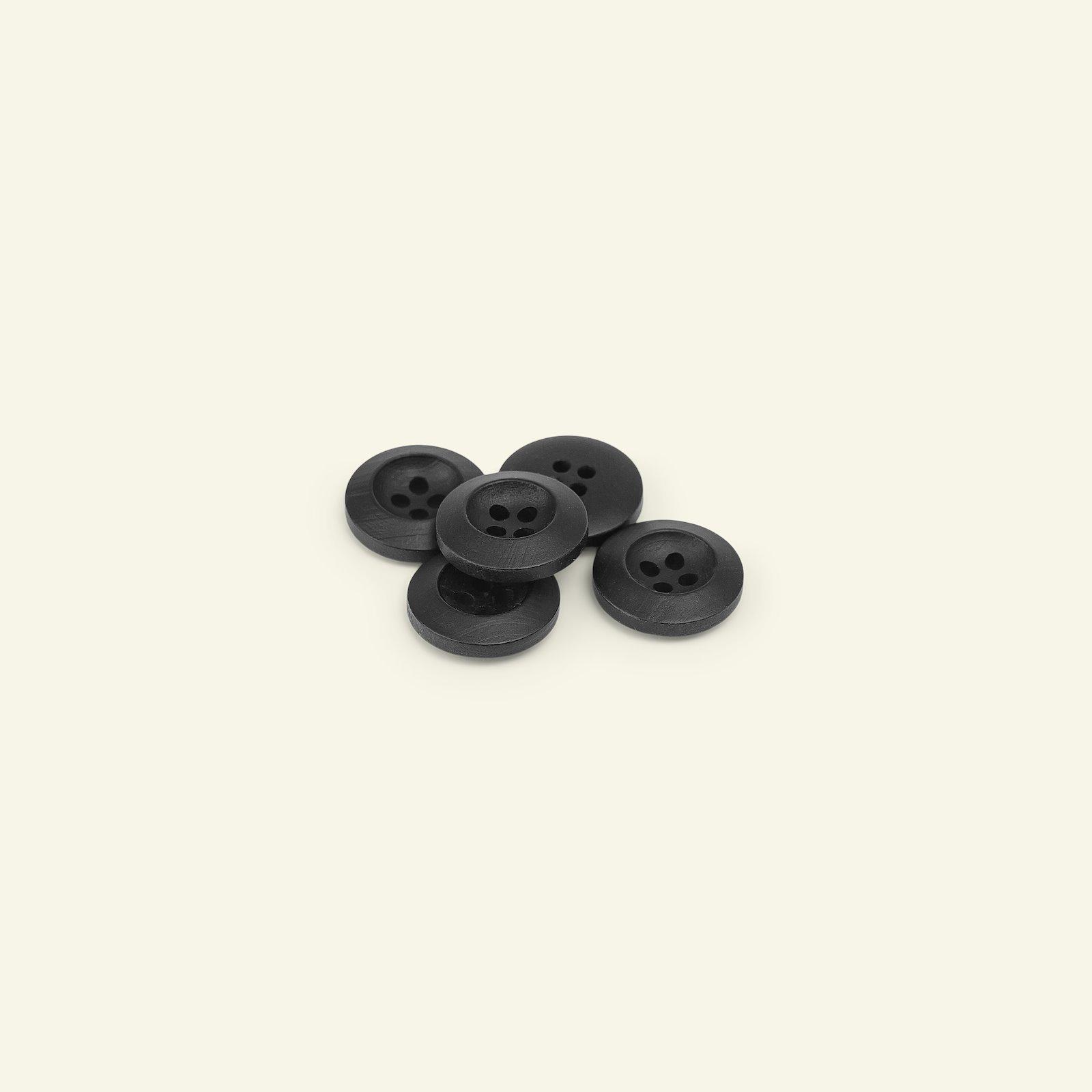 Button 4-holes wood look 15mm black 5pcs 33179_pack