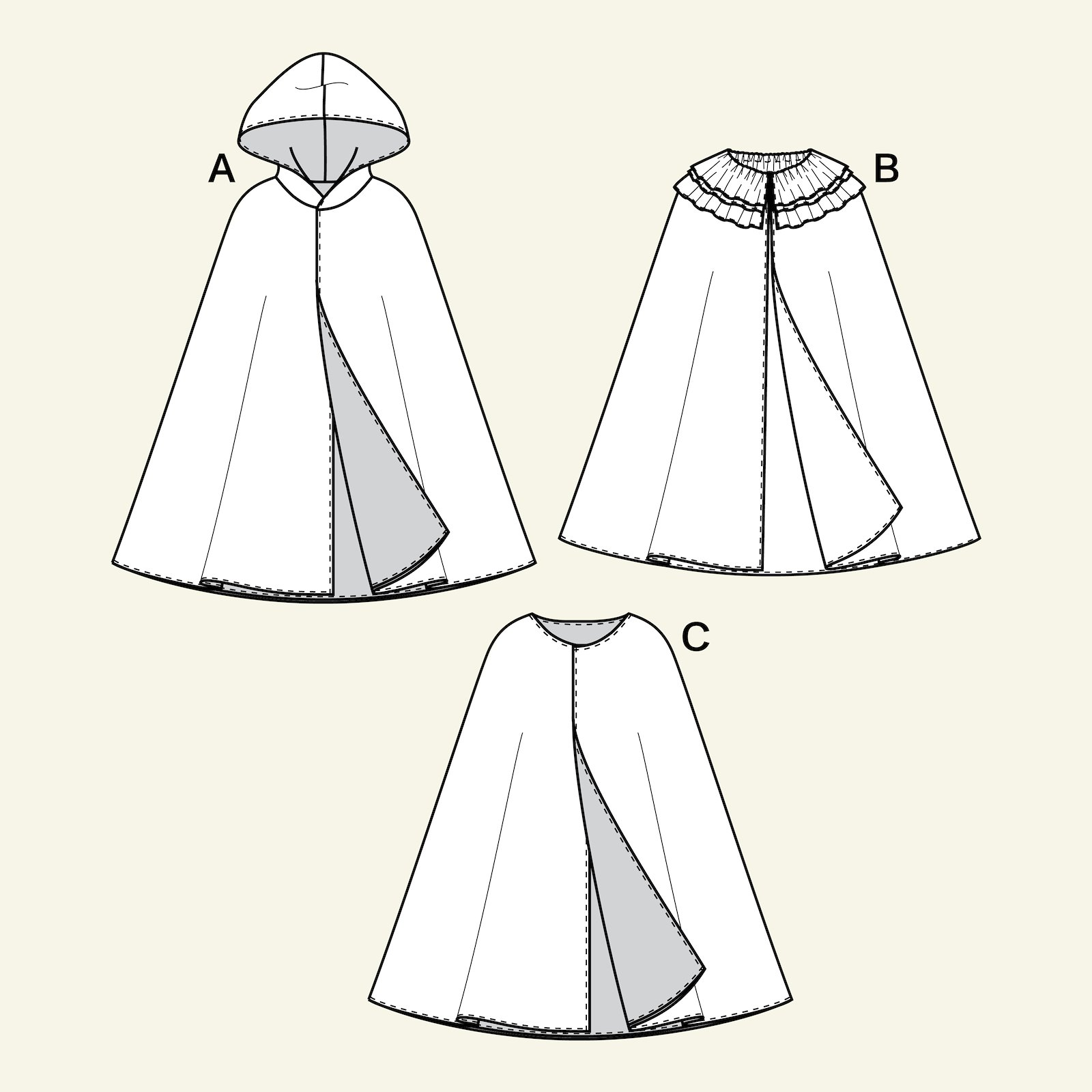 Cape with and without hood, 128/8y p66008_pack